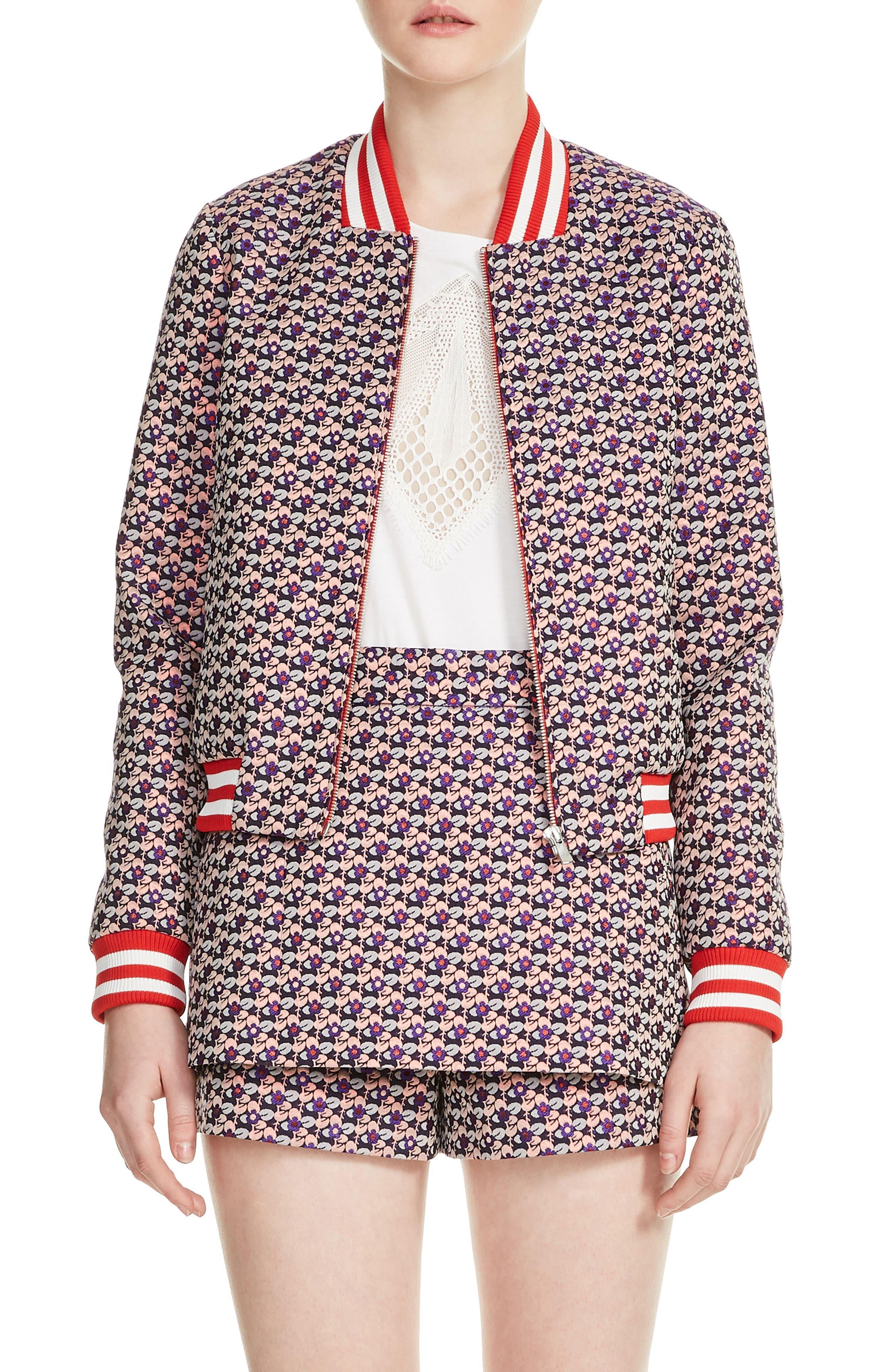 Boyana Bomber Jacket,                         Main,                         color, Jacquard