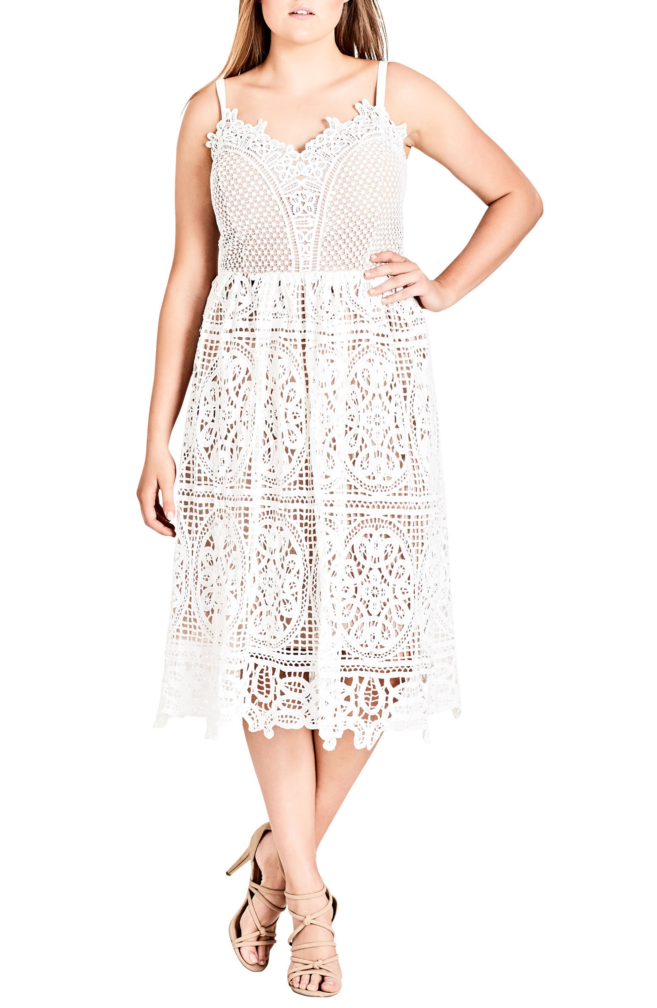 Fancy Free Lace Midi Dress,                             Main thumbnail 1, color,                             Ivory