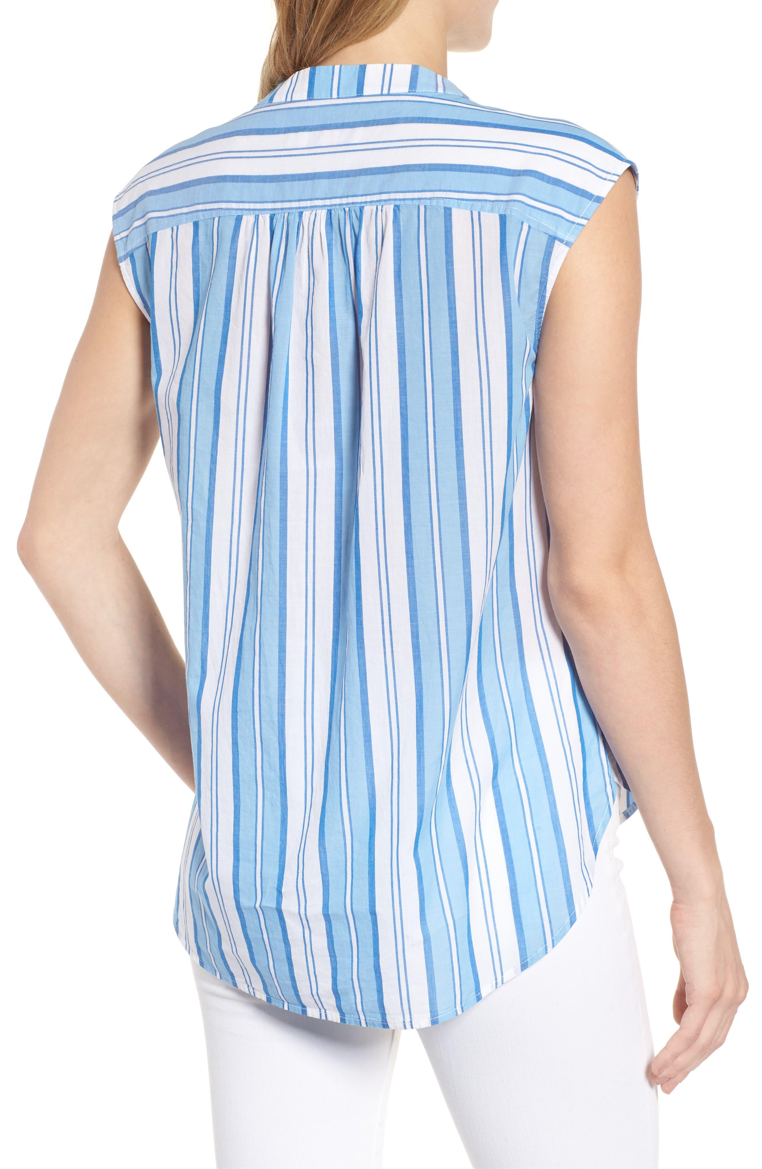 Ocean Stripe Cap Sleeve Popover Top,                             Alternate thumbnail 2, color,                             Blue Jay