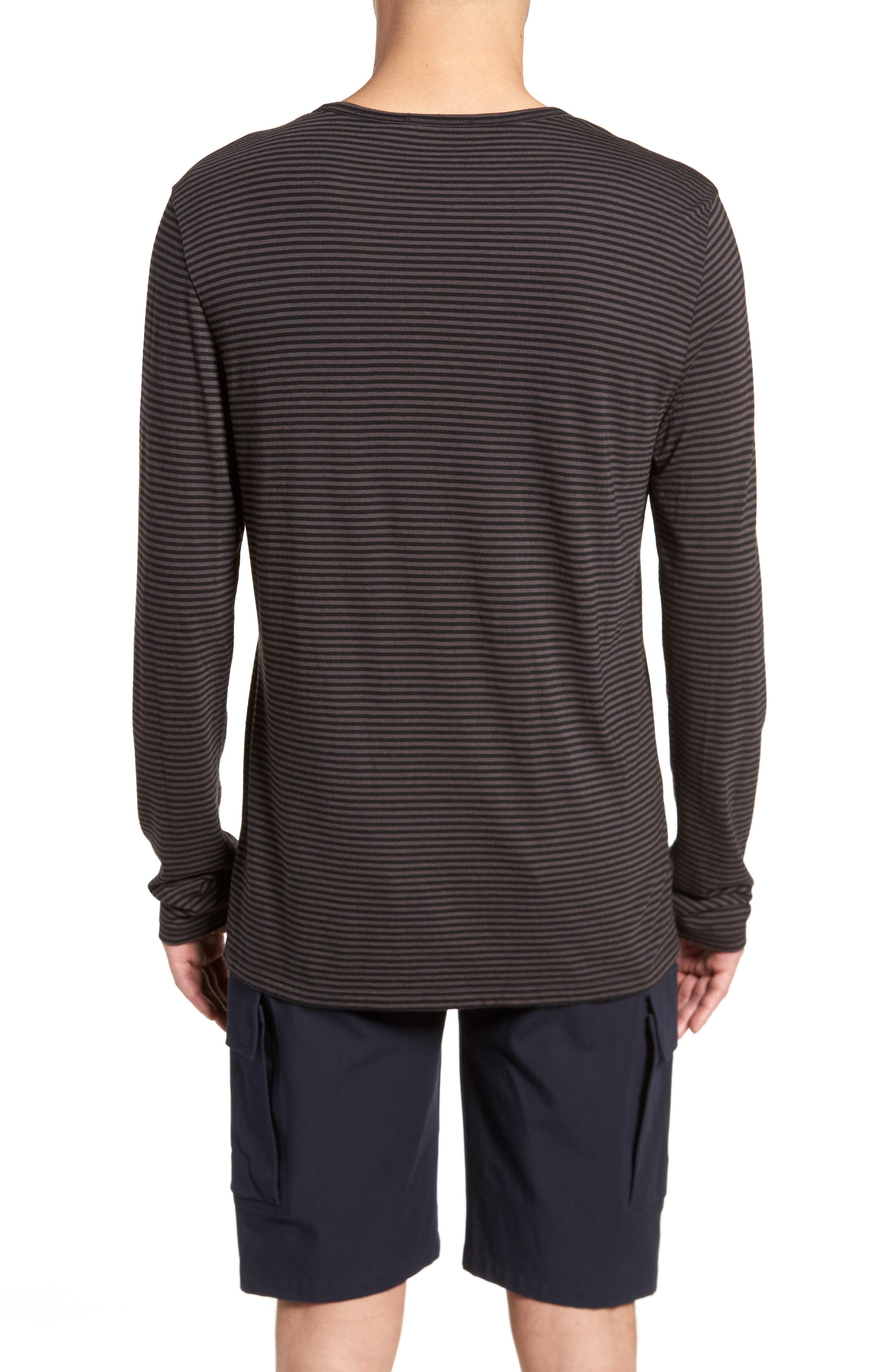Feeder Stripe Long Sleeve Shirt,                             Alternate thumbnail 2, color,                             Black/ Stone Grey