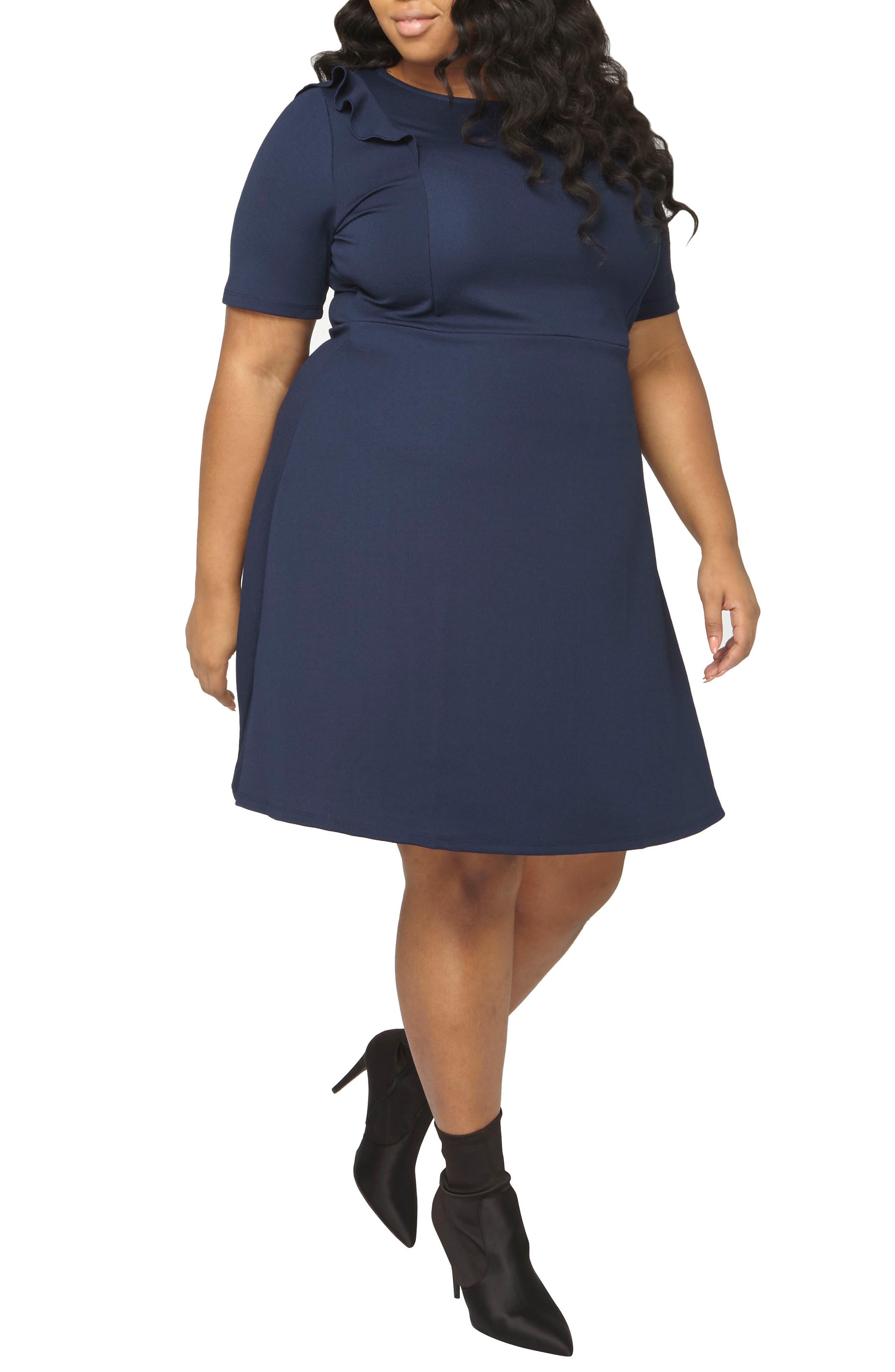 Ruffle Shoulder Knit Dress,                         Main,                         color, Navy