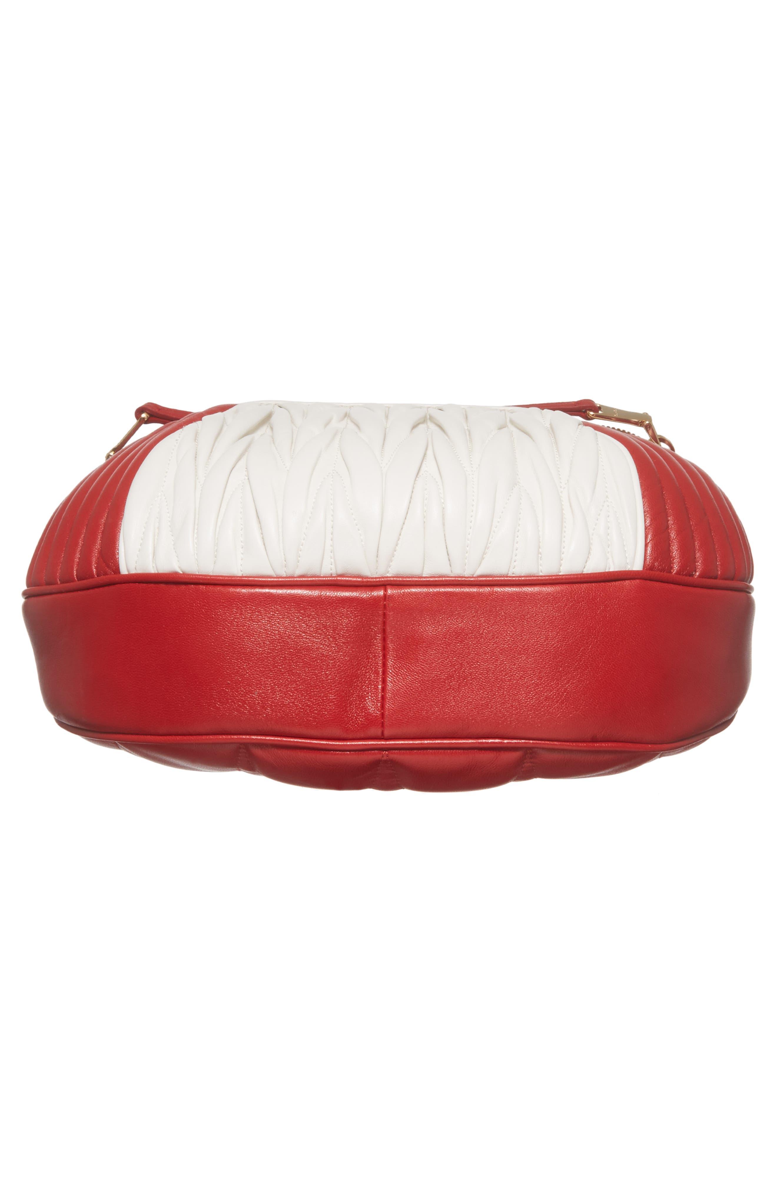 Small Rider Matelassé Leather Shoulder Bag,                             Alternate thumbnail 7, color,                             Fuoco/ Bianco