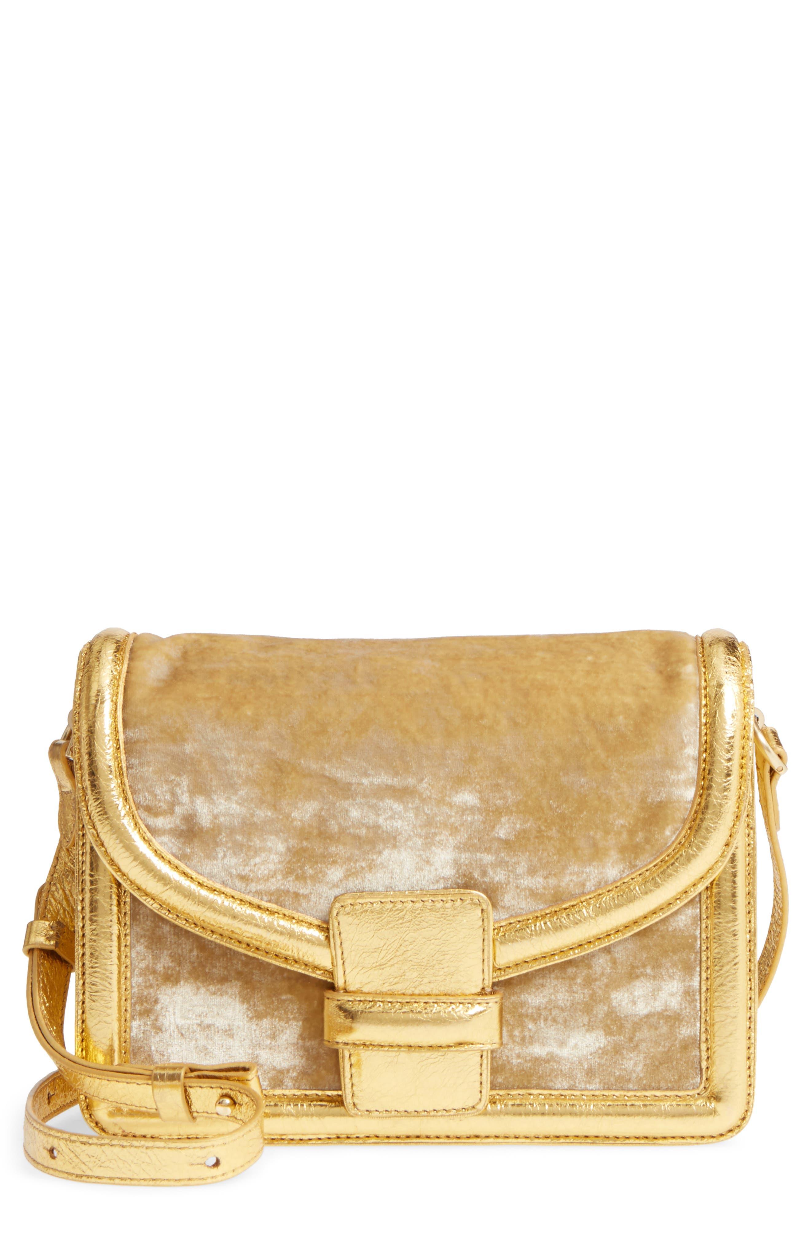 Main Image - Dries Van Noten Velvet & Metallic Leather Crossbody Bag