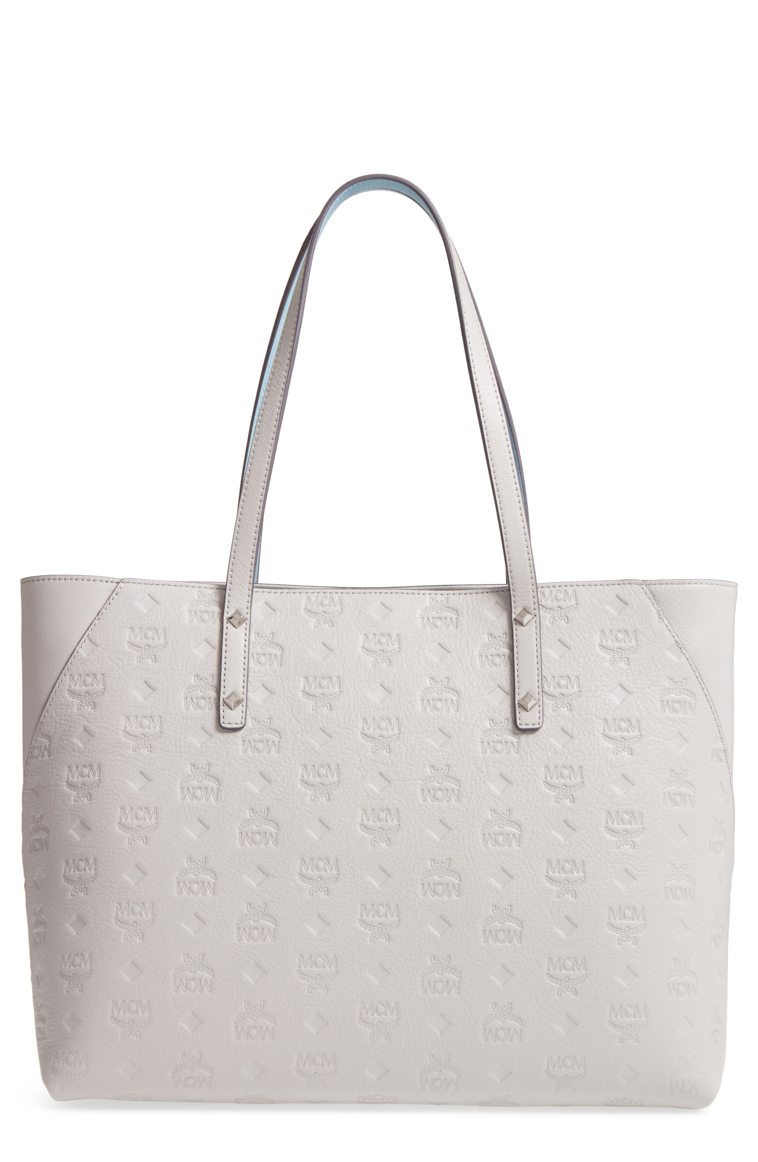 Mcm  KLARA MEDIUM MONOGRAMMED LEATHER SHOPPER - GREY