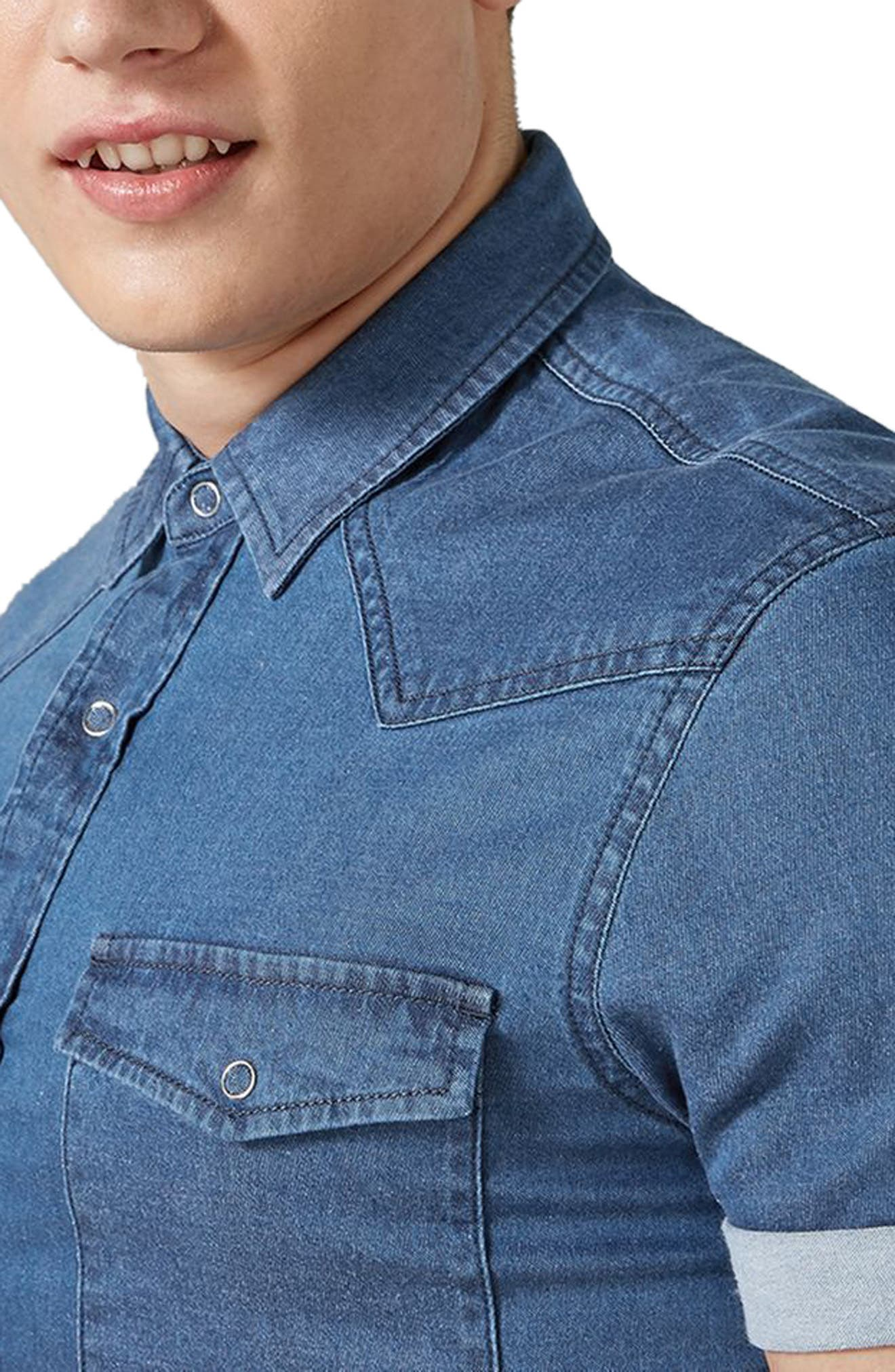 Muscle Fit Denim Shirt,                             Alternate thumbnail 2, color,                             Blue