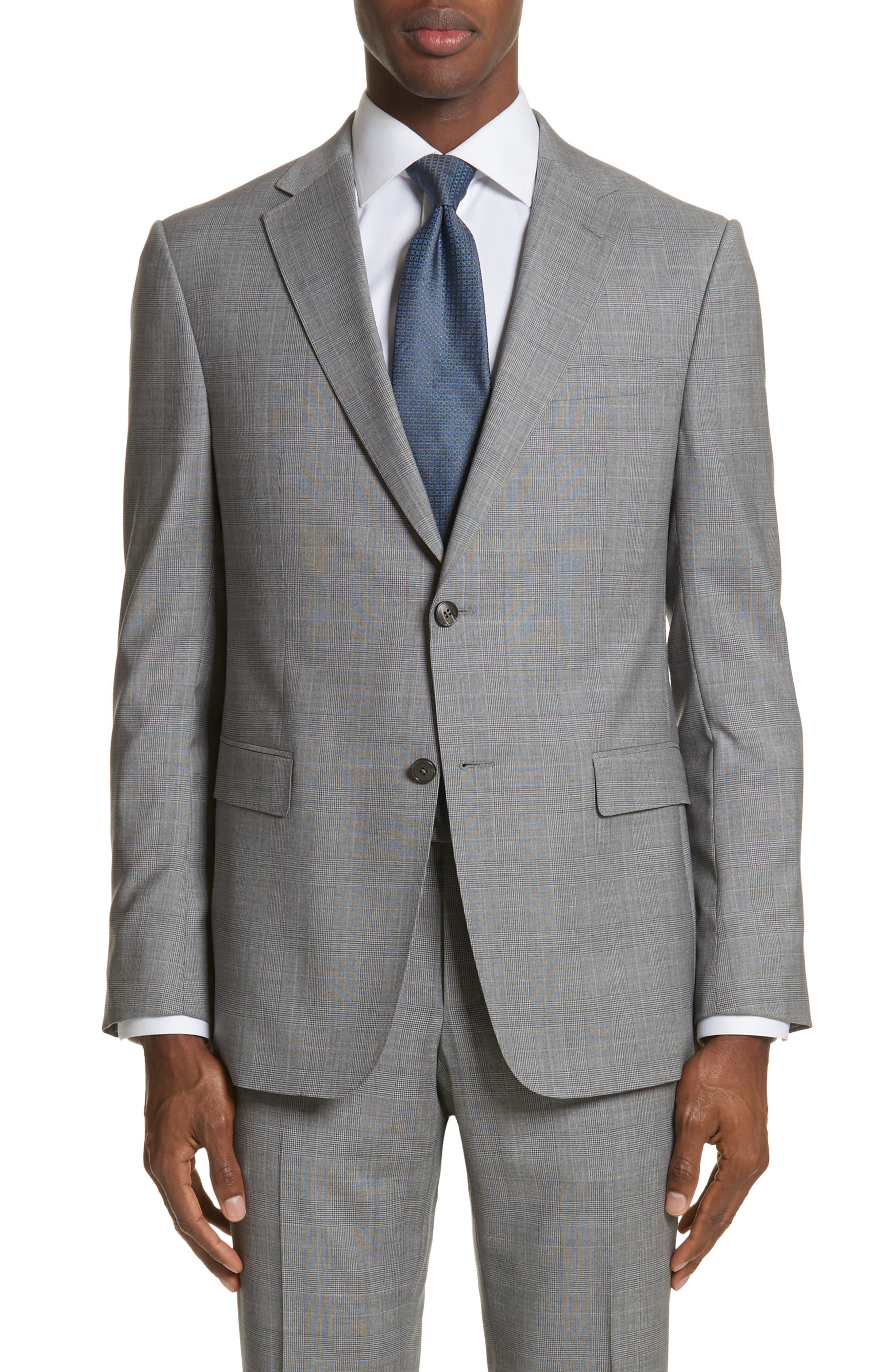 Classic Fit Plaid Wool Suit,                             Alternate thumbnail 5, color,                             Dark Grey Check