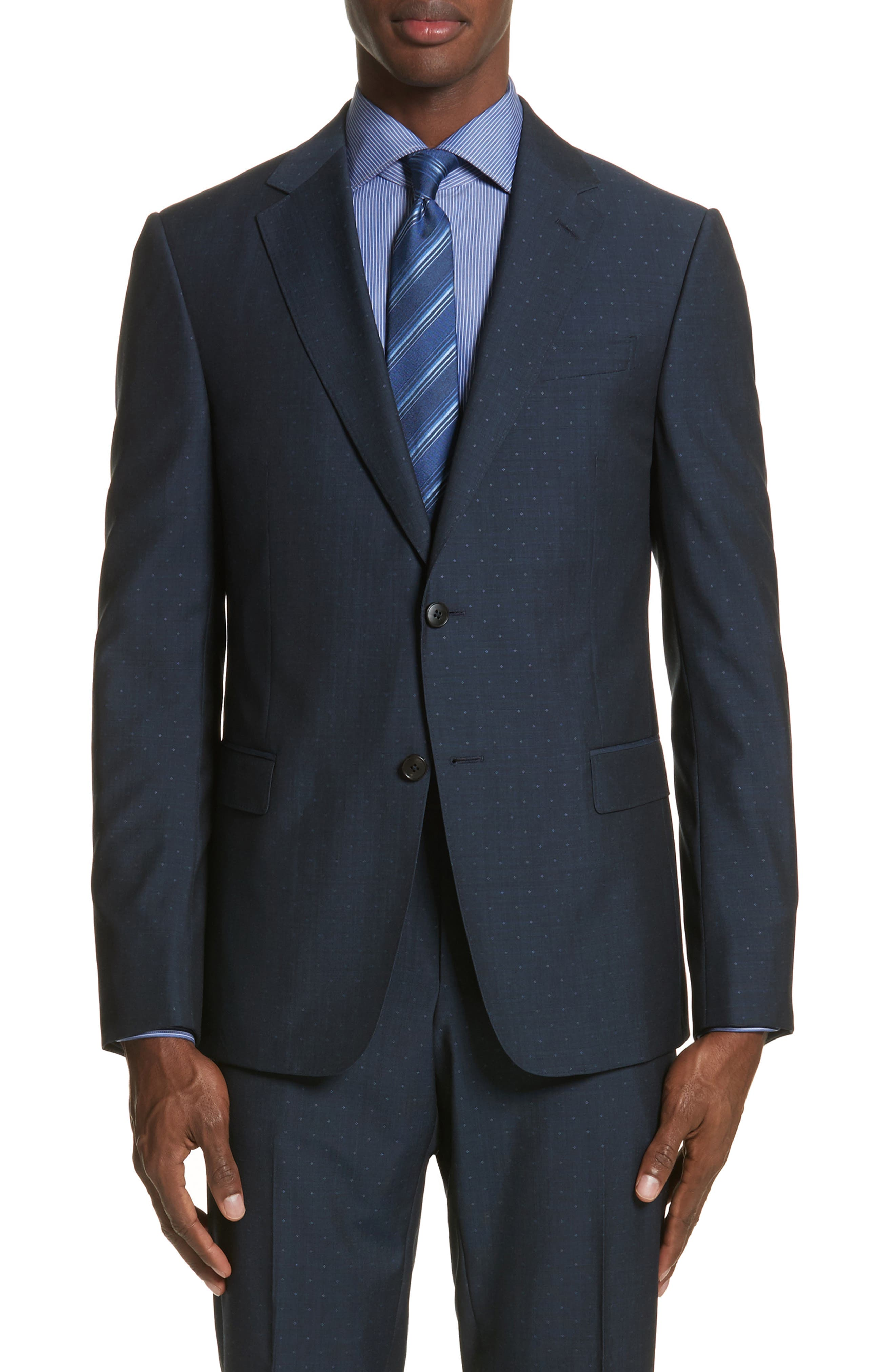 Classic Fit Dot Wool Suit,                             Alternate thumbnail 5, color,                             Navy Check