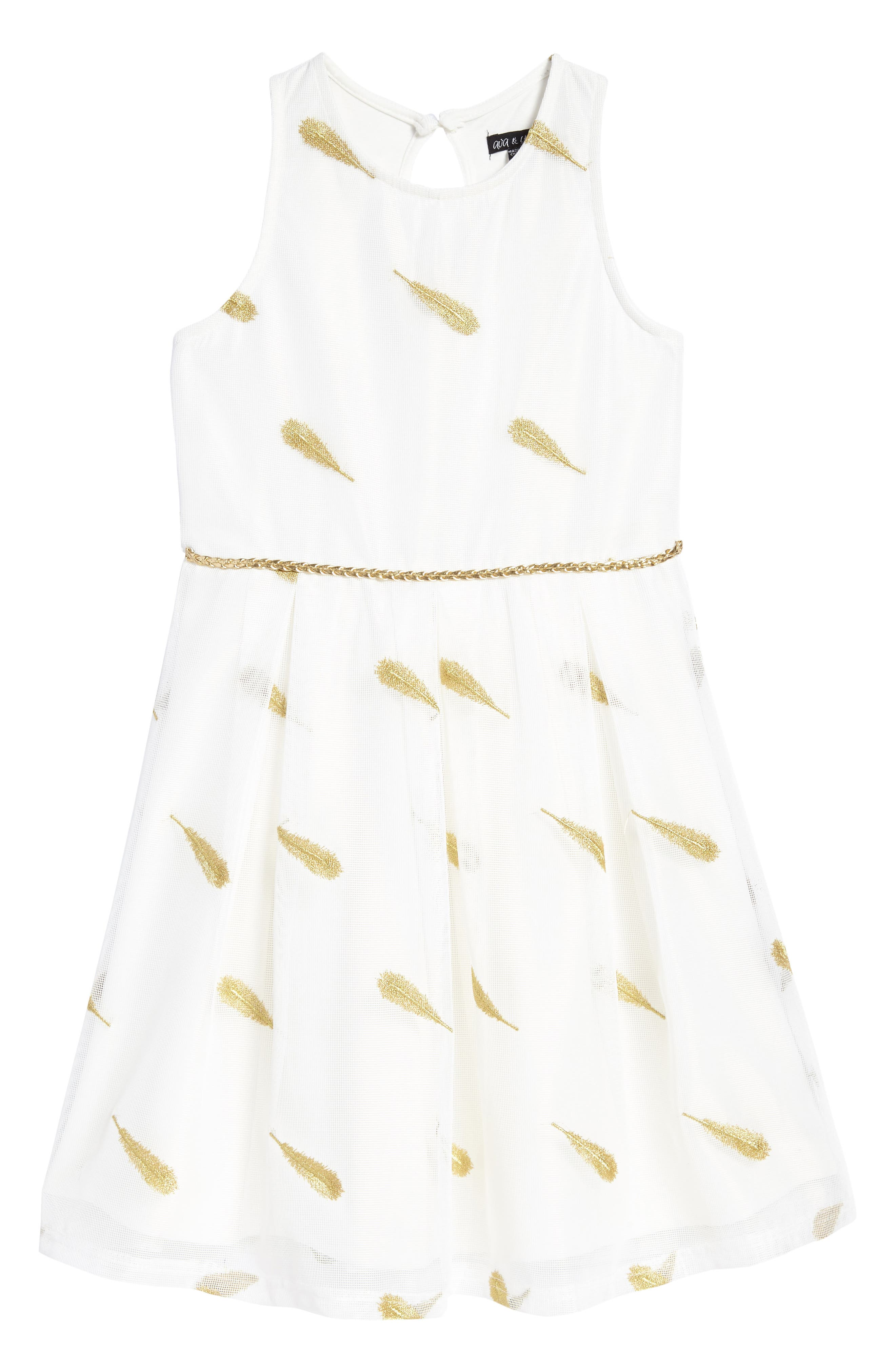 Feather Embroidered Dress,                         Main,                         color, White/ Gold