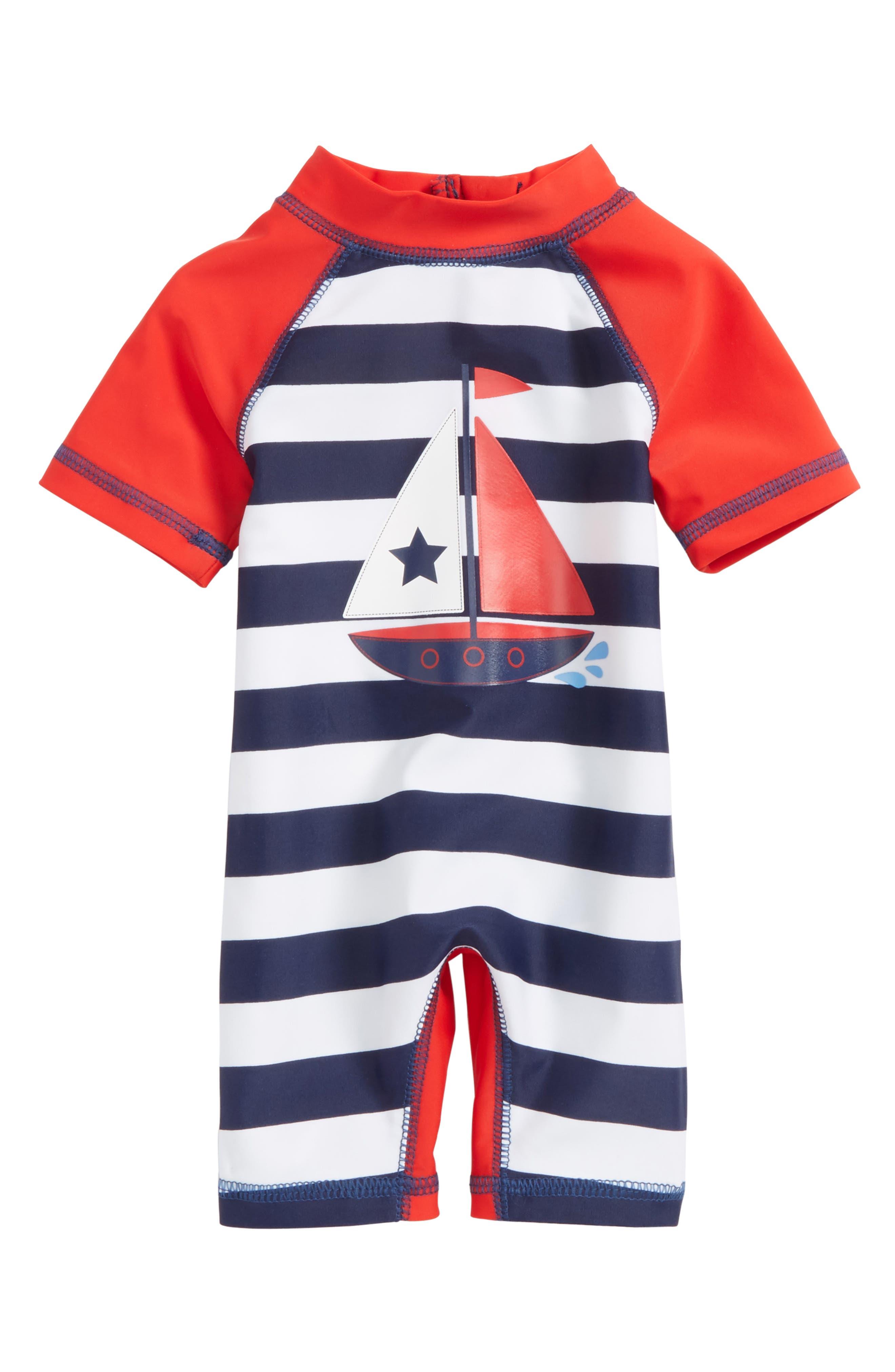 Sailboat UPF 50+ One-Piece Rashguard Swimsuit,                             Main thumbnail 1, color,                             Navy/ White