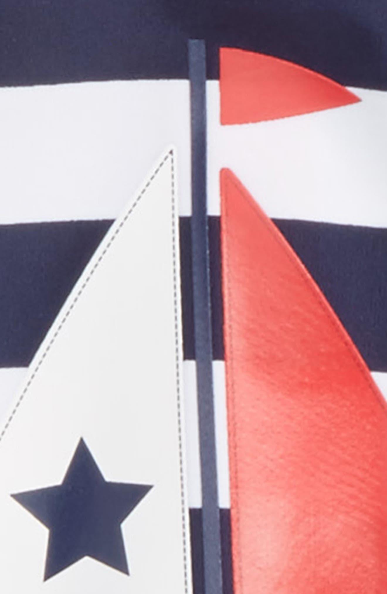 Sailboat UPF 50+ One-Piece Rashguard Swimsuit,                             Alternate thumbnail 2, color,                             Navy/ White