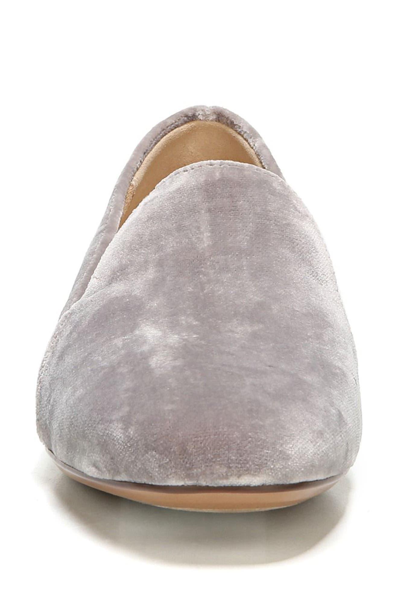 Emiline Flat Loafer,                             Alternate thumbnail 4, color,                             Taupe Velvet Fabric