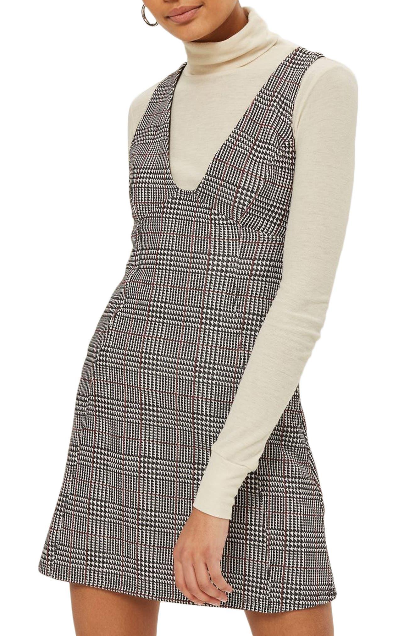Plaid A-Line Pinafore Dress,                         Main,                         color, Dark Black Multi