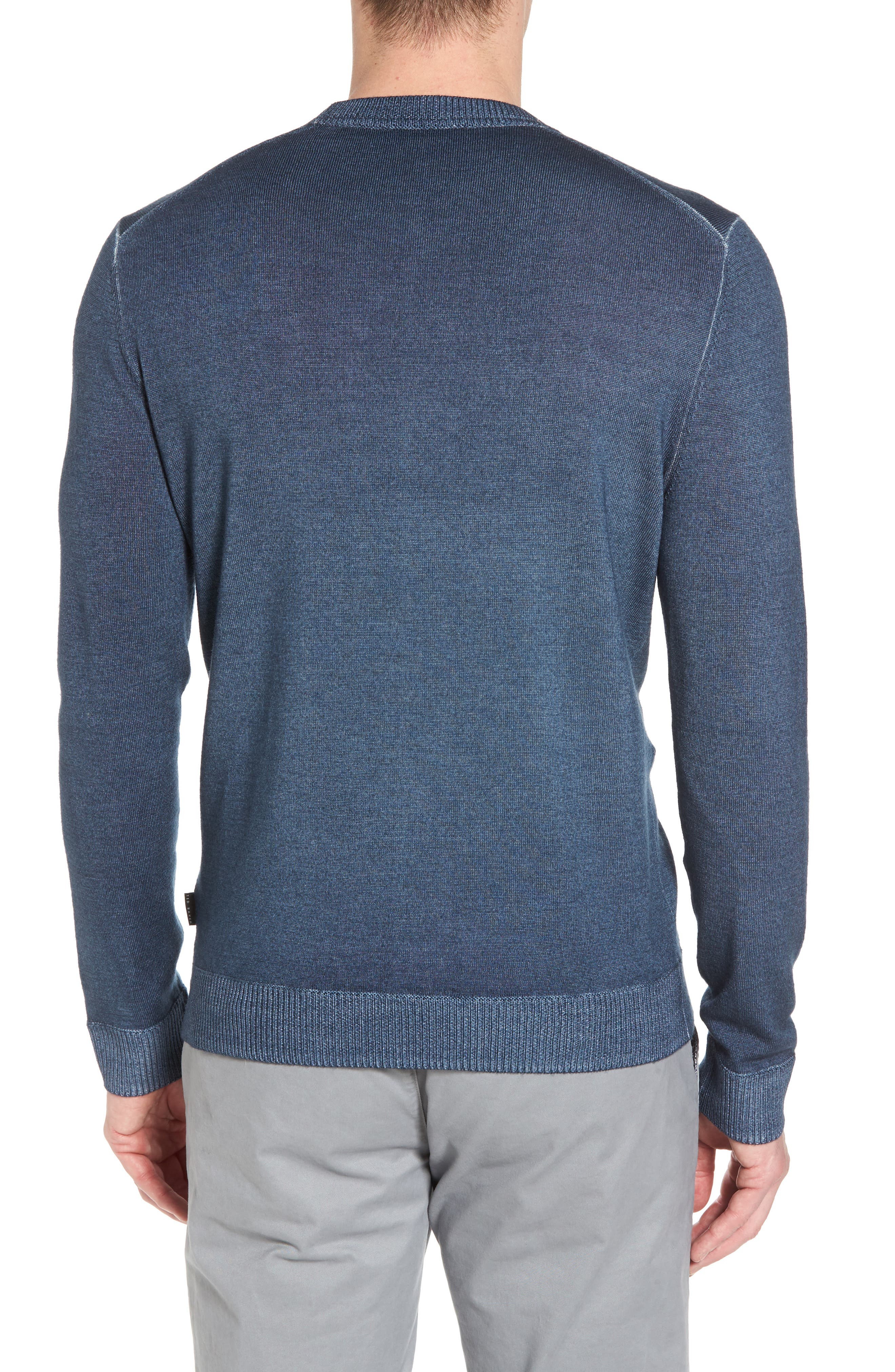 Lucky Trim Fit Wool Sweater,                             Alternate thumbnail 2, color,                             Mid Blue