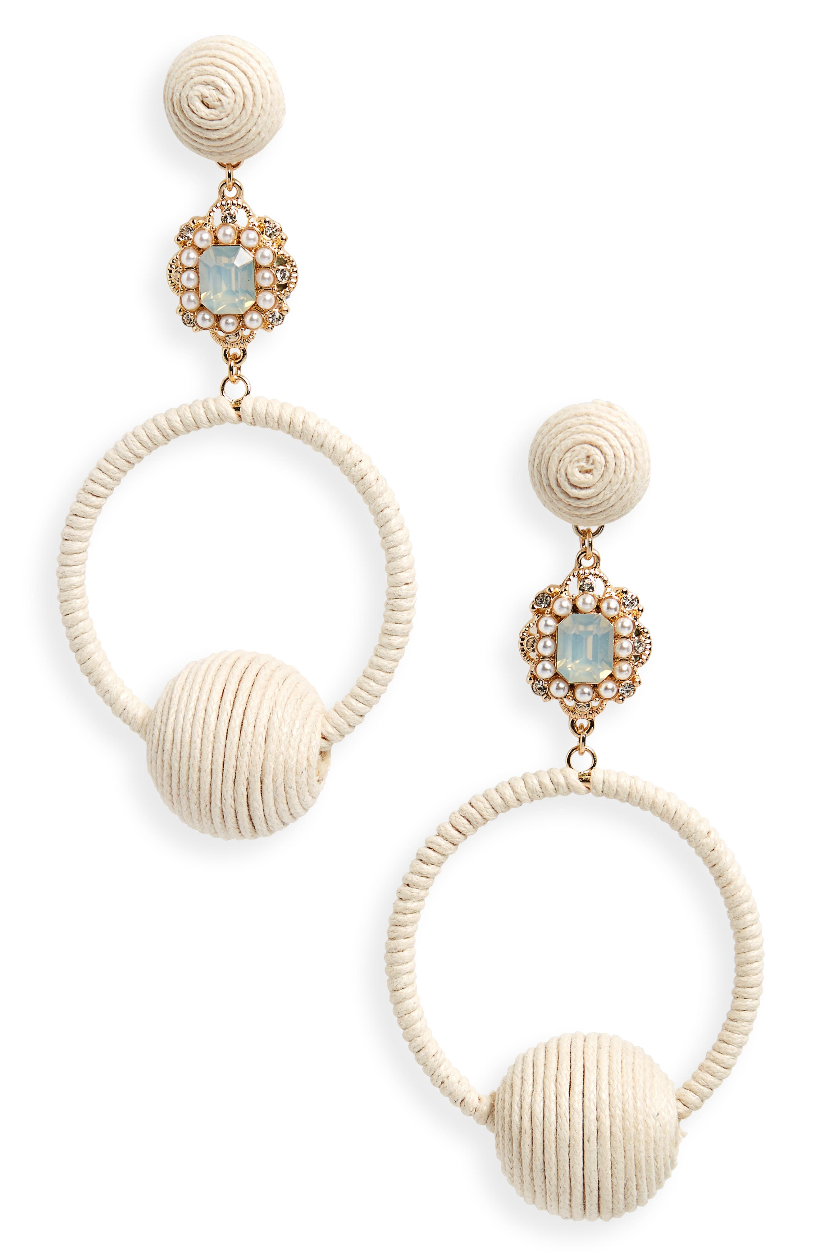 String Wrapped Crystal Hoop Earrings,                             Main thumbnail 1, color,                             Gold/ Ivory