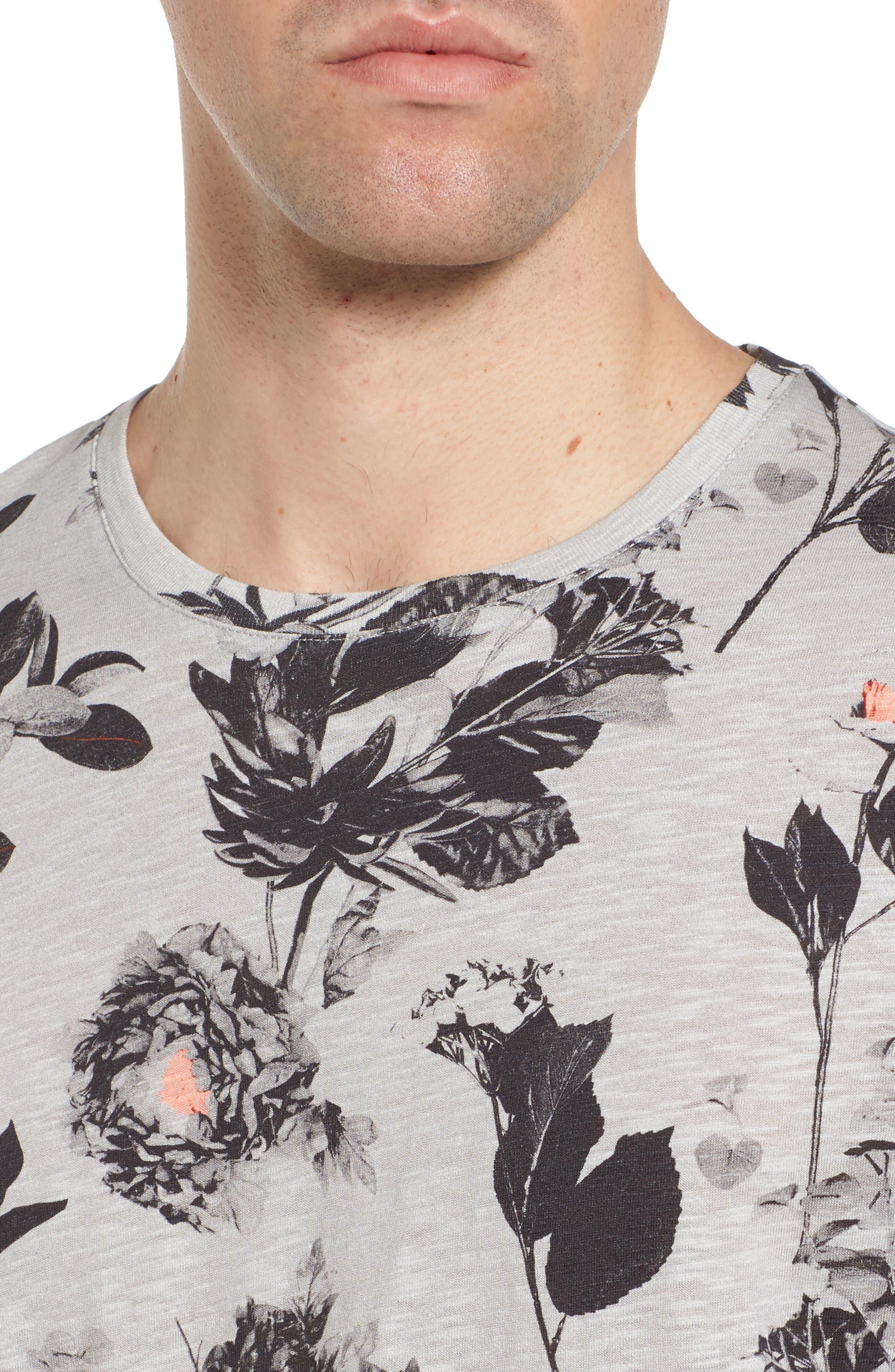 Doberma Trim Fit Floral Print T-Shirt,                             Alternate thumbnail 4, color,                             Grey