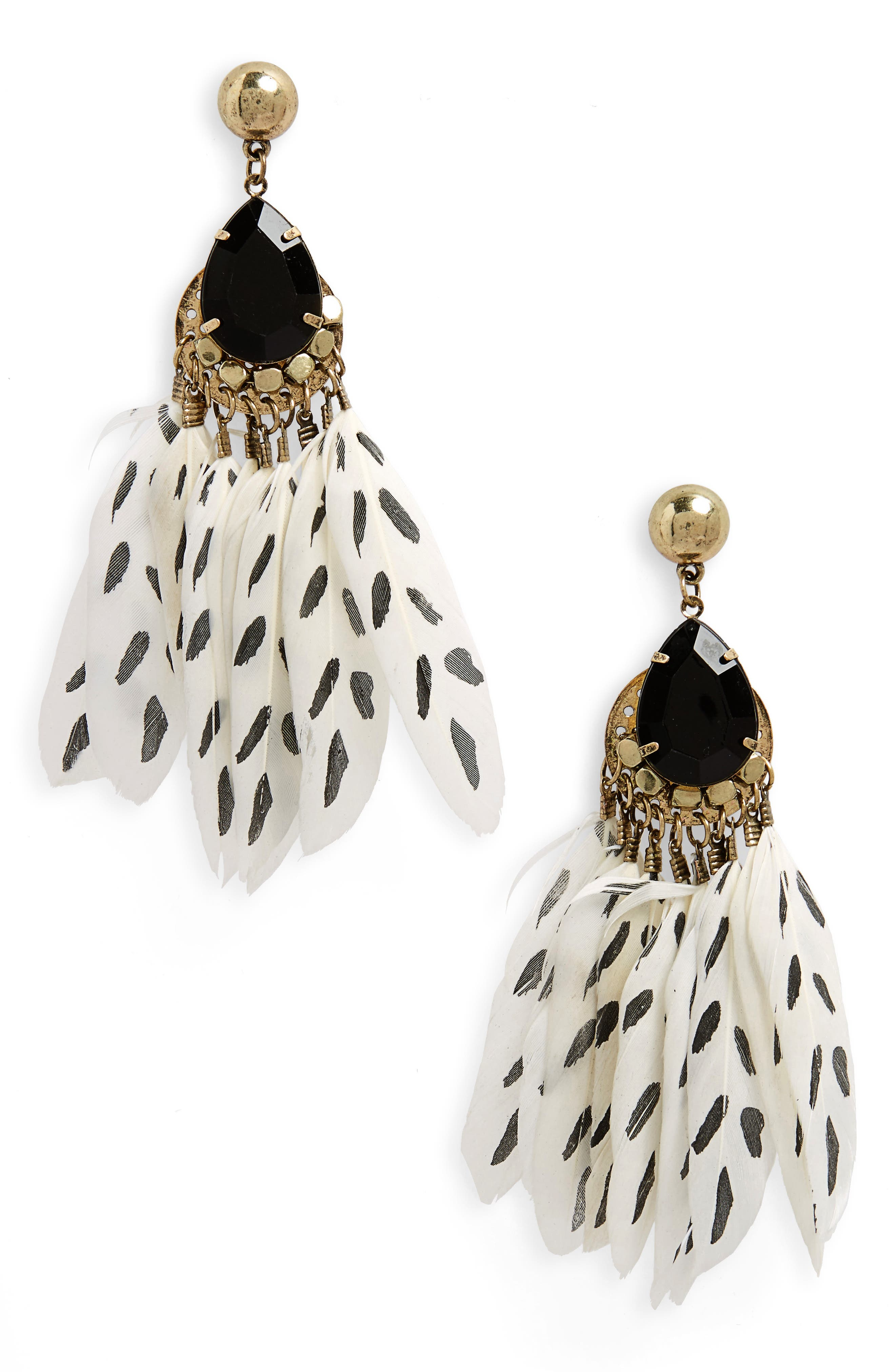 Print Feather Drop Earrings,                         Main,                         color, White/ Black/ Gold
