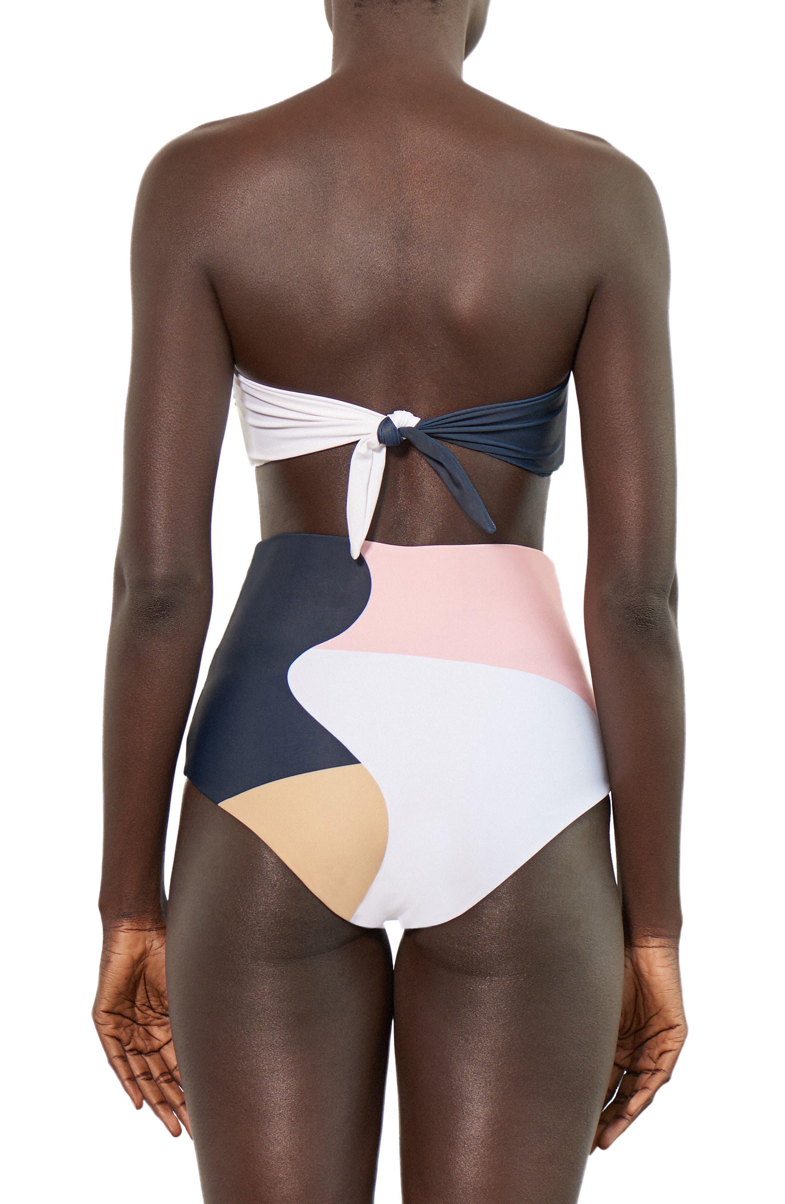 Lydia High Waist Bikini Bottoms,                             Alternate thumbnail 3, color,                             Peach Multi