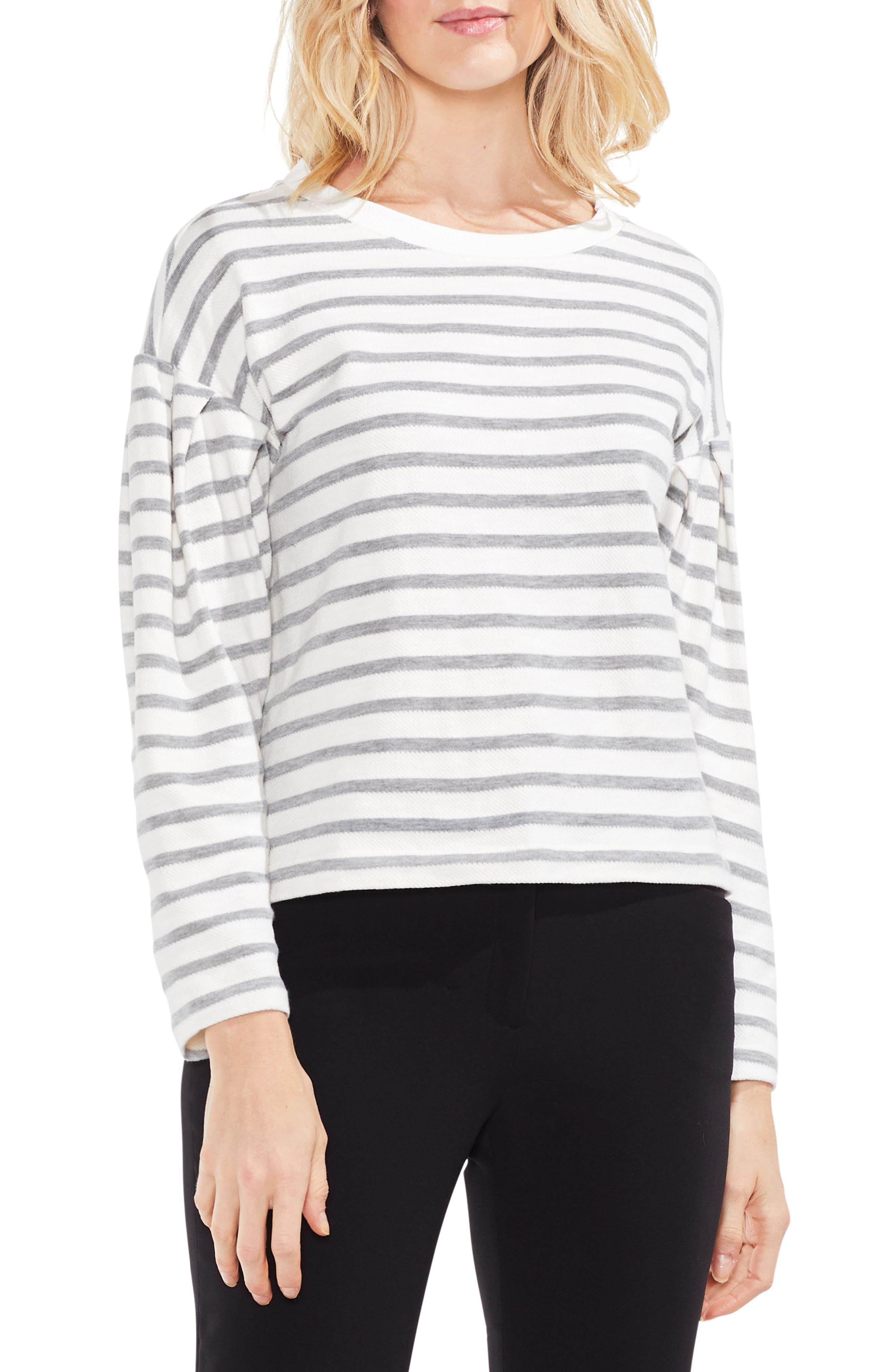 Stripe Drop Shoulder Top,                             Main thumbnail 1, color,                             Grey Heather