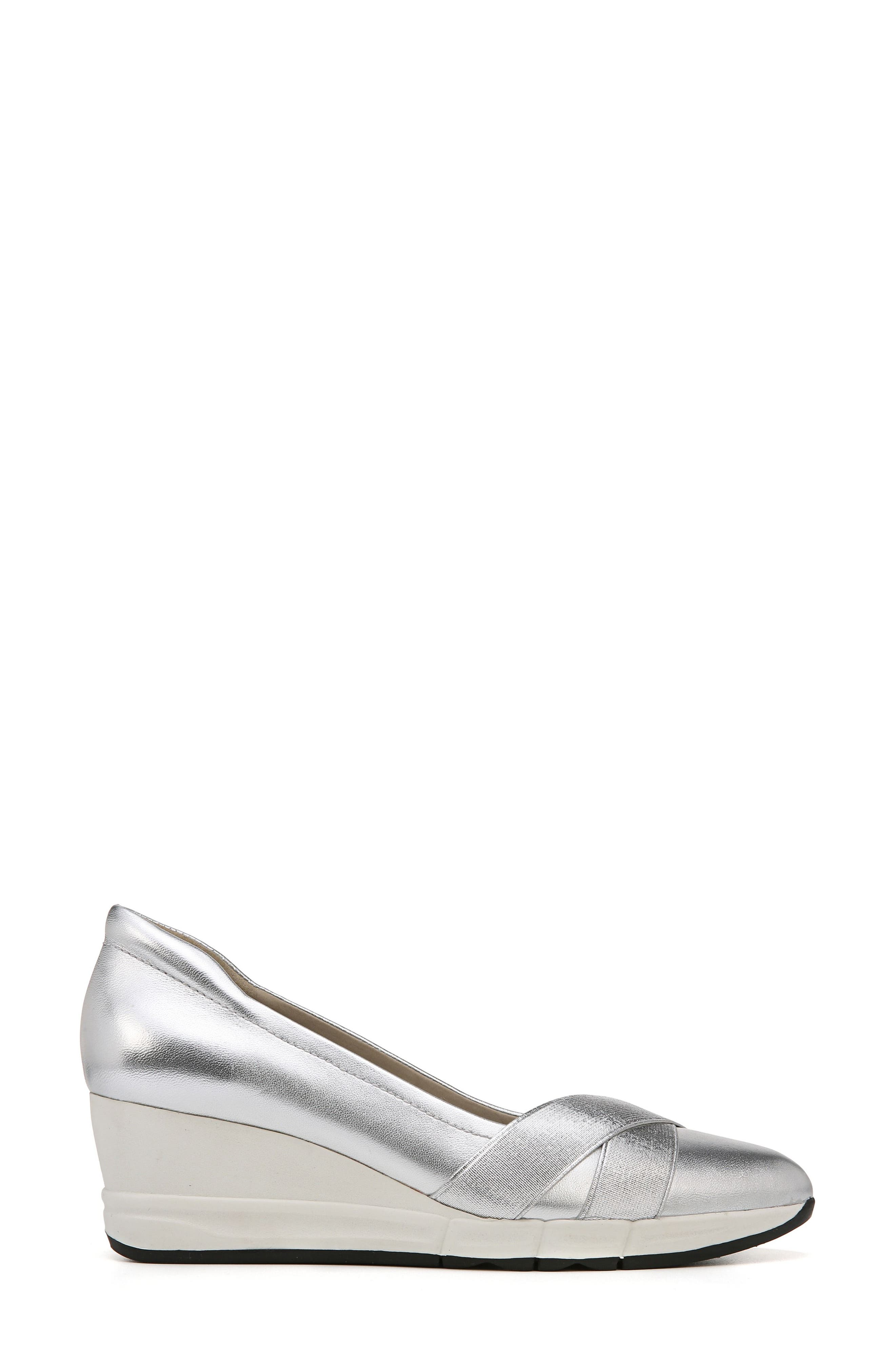 Harlyn Wedge Pump,                             Alternate thumbnail 3, color,                             Silver Leather