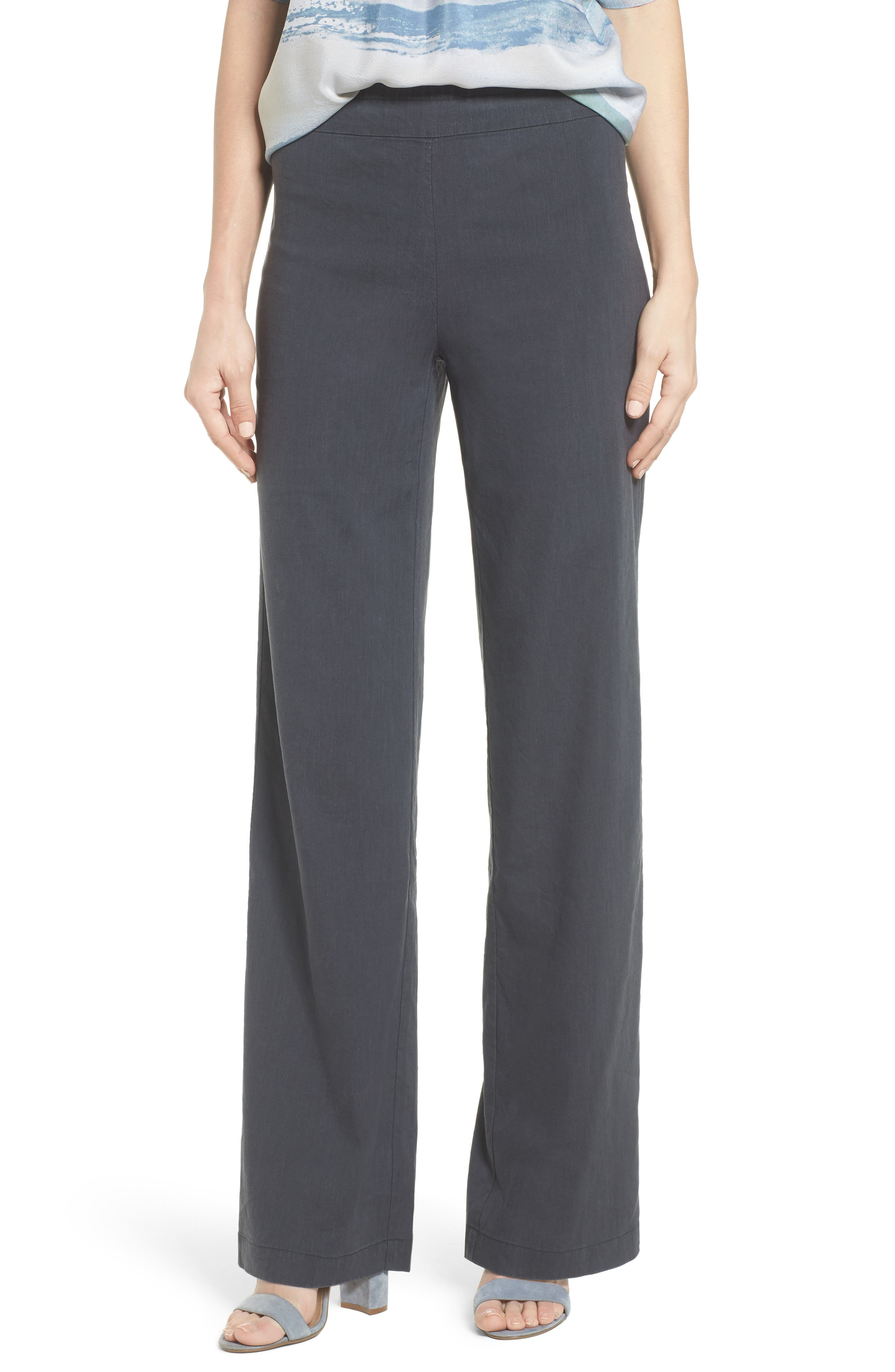 Traveling Linen Blend Stretch Pants,                         Main,                         color, Ink