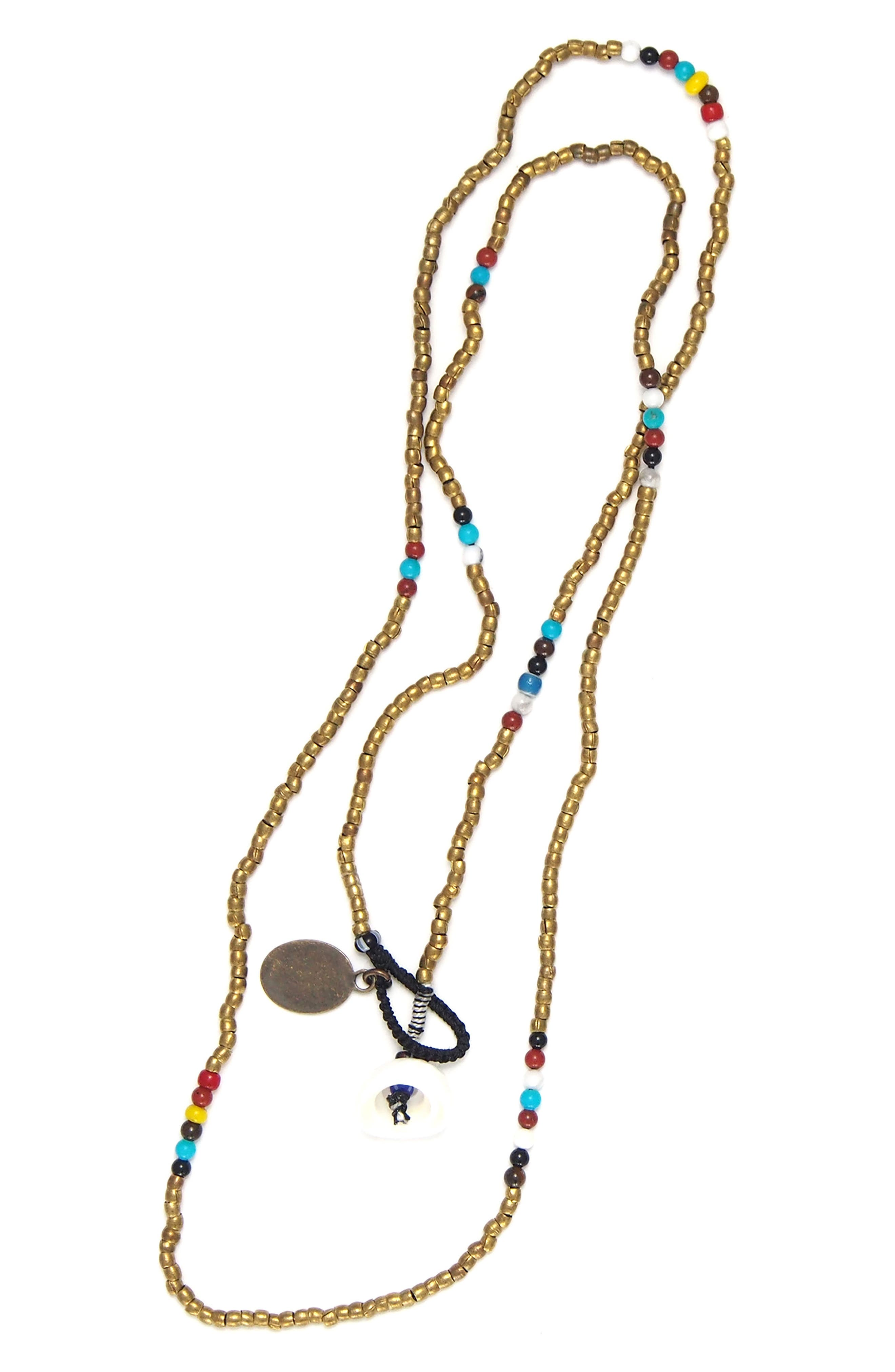 Bead Necklace,                         Main,                         color, Brass/ Howlite/ Turquoise