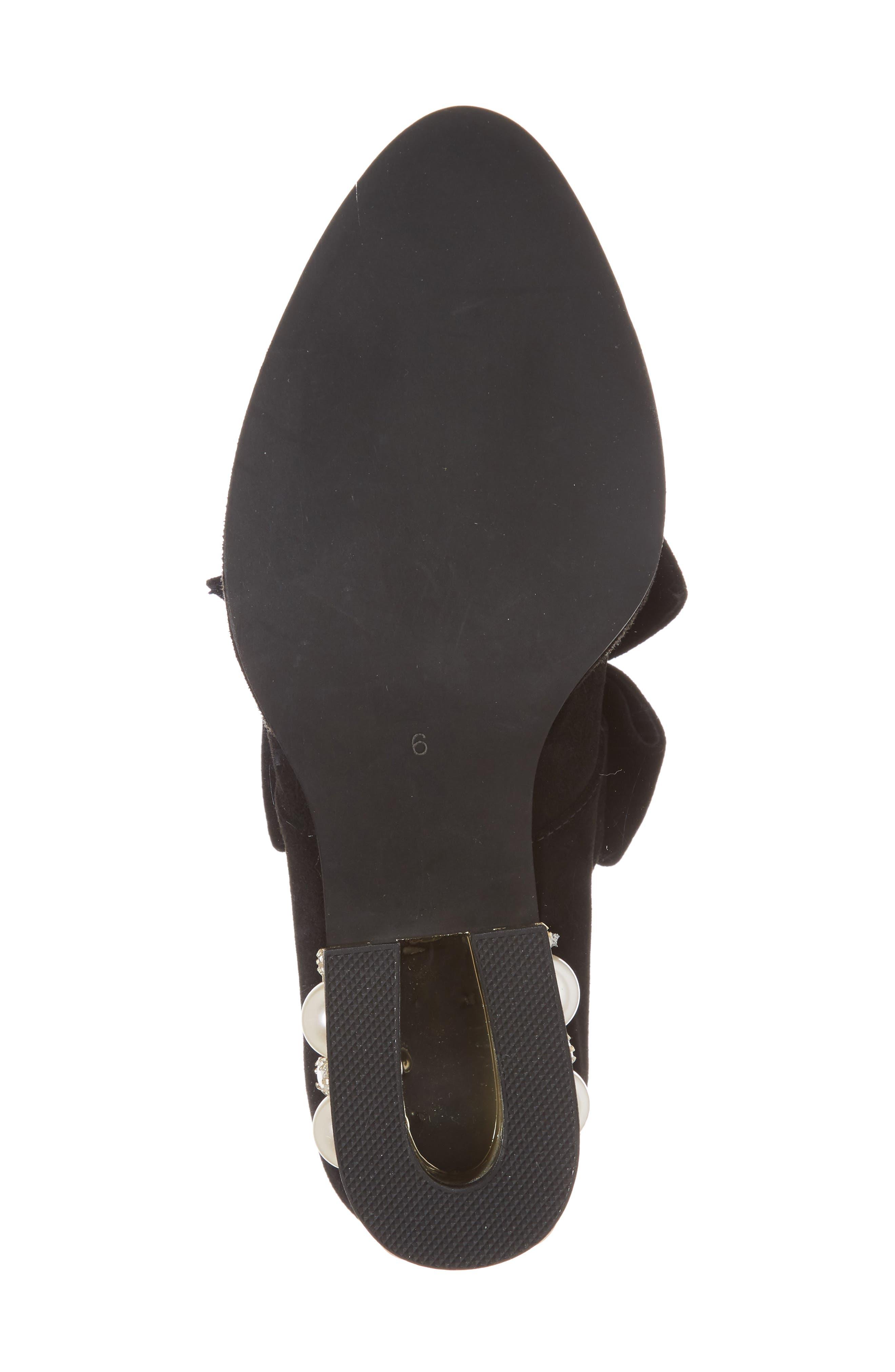 Cordene Embellished Bow Pump,                             Alternate thumbnail 6, color,                             Black/ Gold Suede