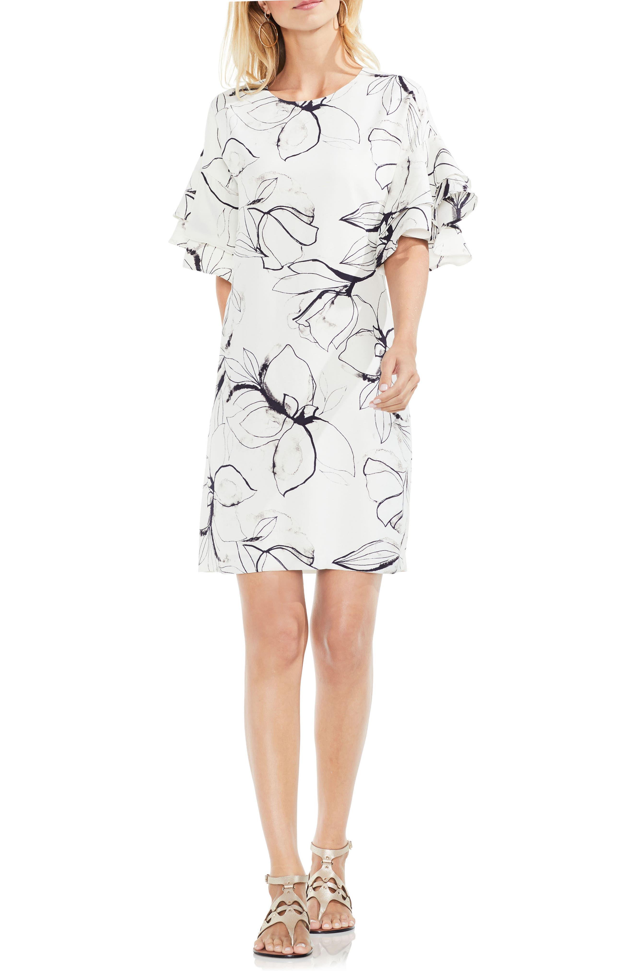 Vince Camuto Fresco Petals Ruffle Sleeve Shift Dress