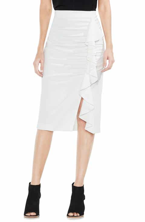 Vince Camuto Front Ruffle Ponte Pencil Skirt