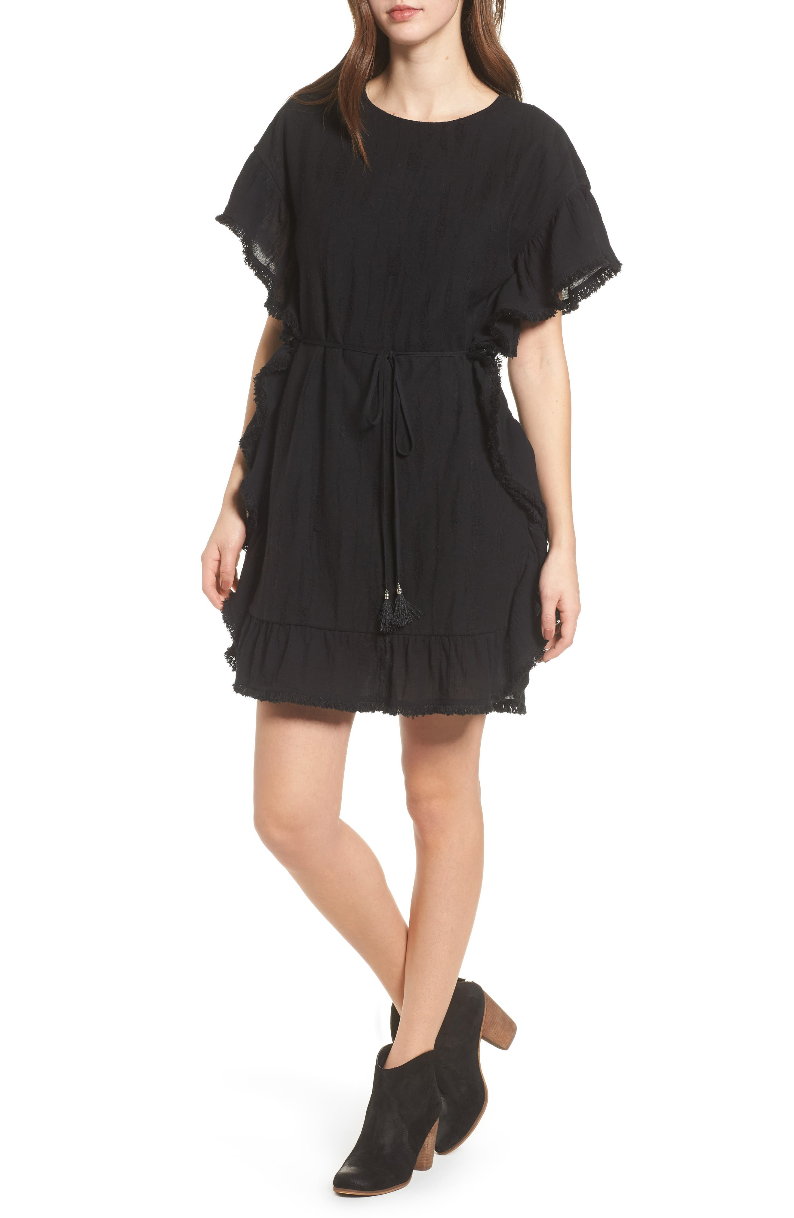 Ruffle Edge Dress,                         Main,                         color, Black