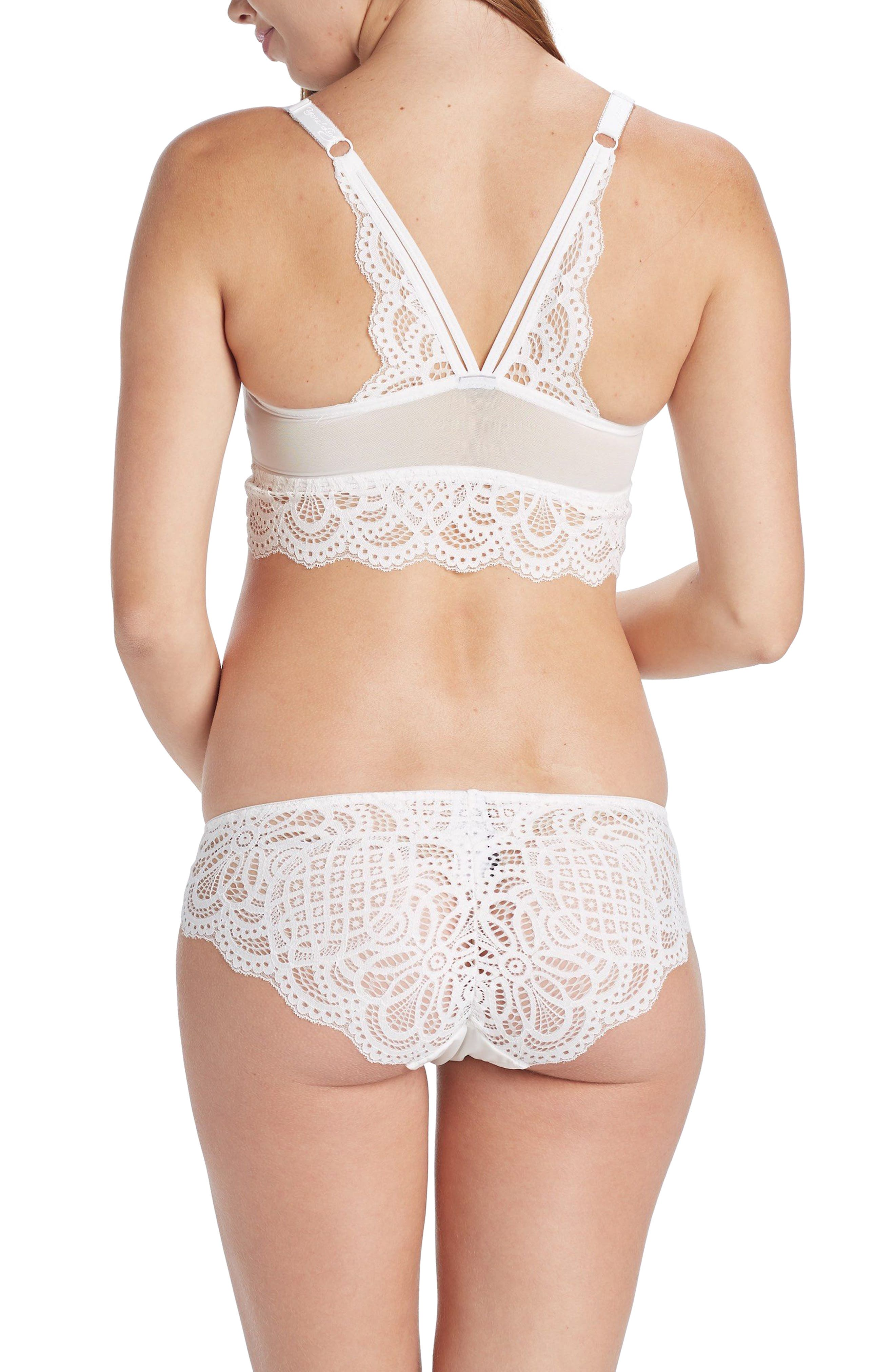 You! Lingerie Naya Lace Maternity Hipster,                             Alternate thumbnail 4, color,                             White