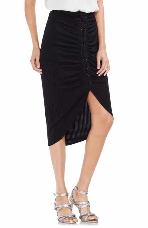 Vince Camuto Ruched Lace-Up Ribbed Pencil Skirt Best Price