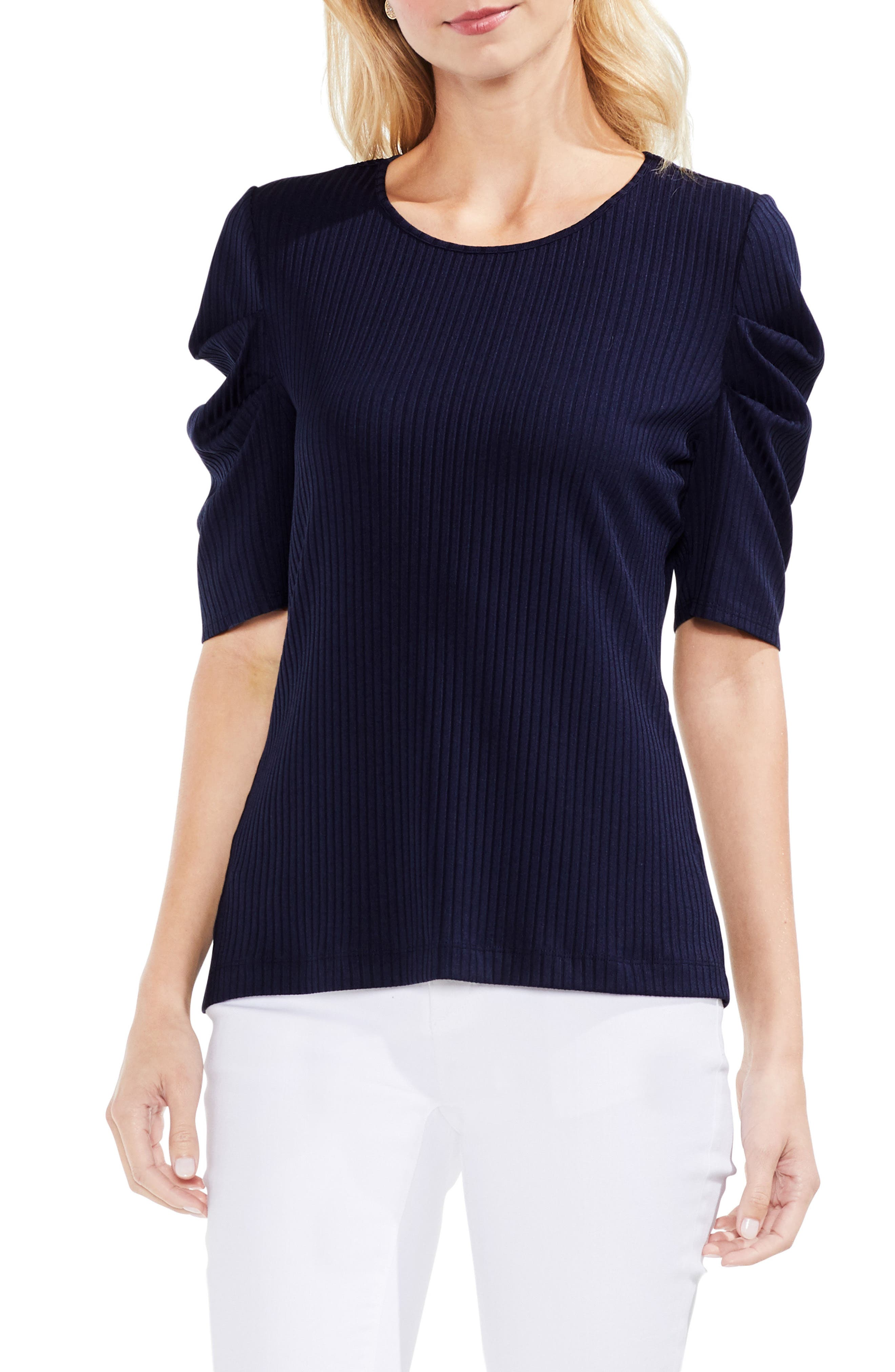 Alternate Image 1 Selected - Vince Camuto Draped Sleeve Ribbed Tee
