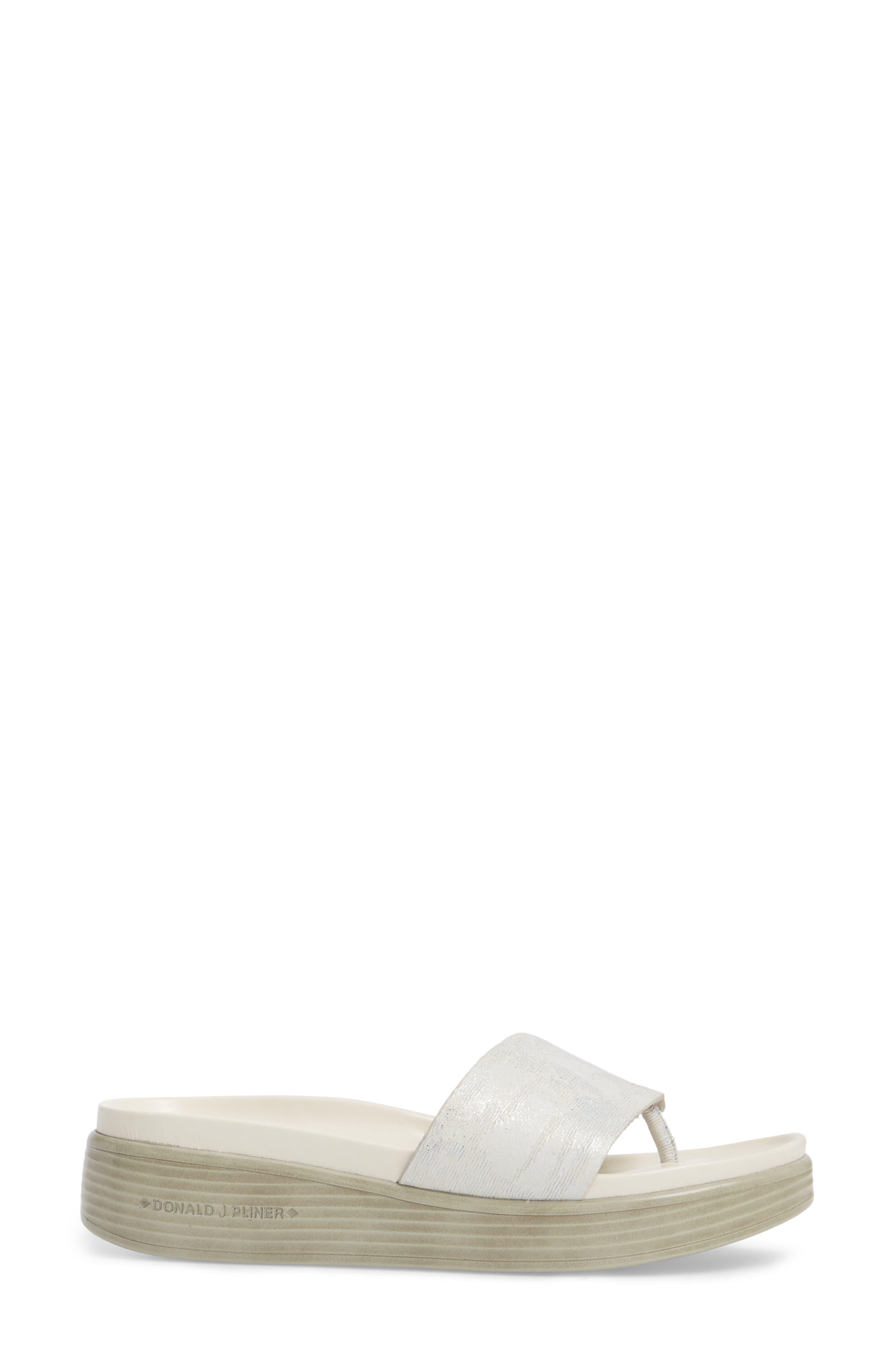 Fifi Slide Sandal,                             Alternate thumbnail 3, color,                             Silver Leather