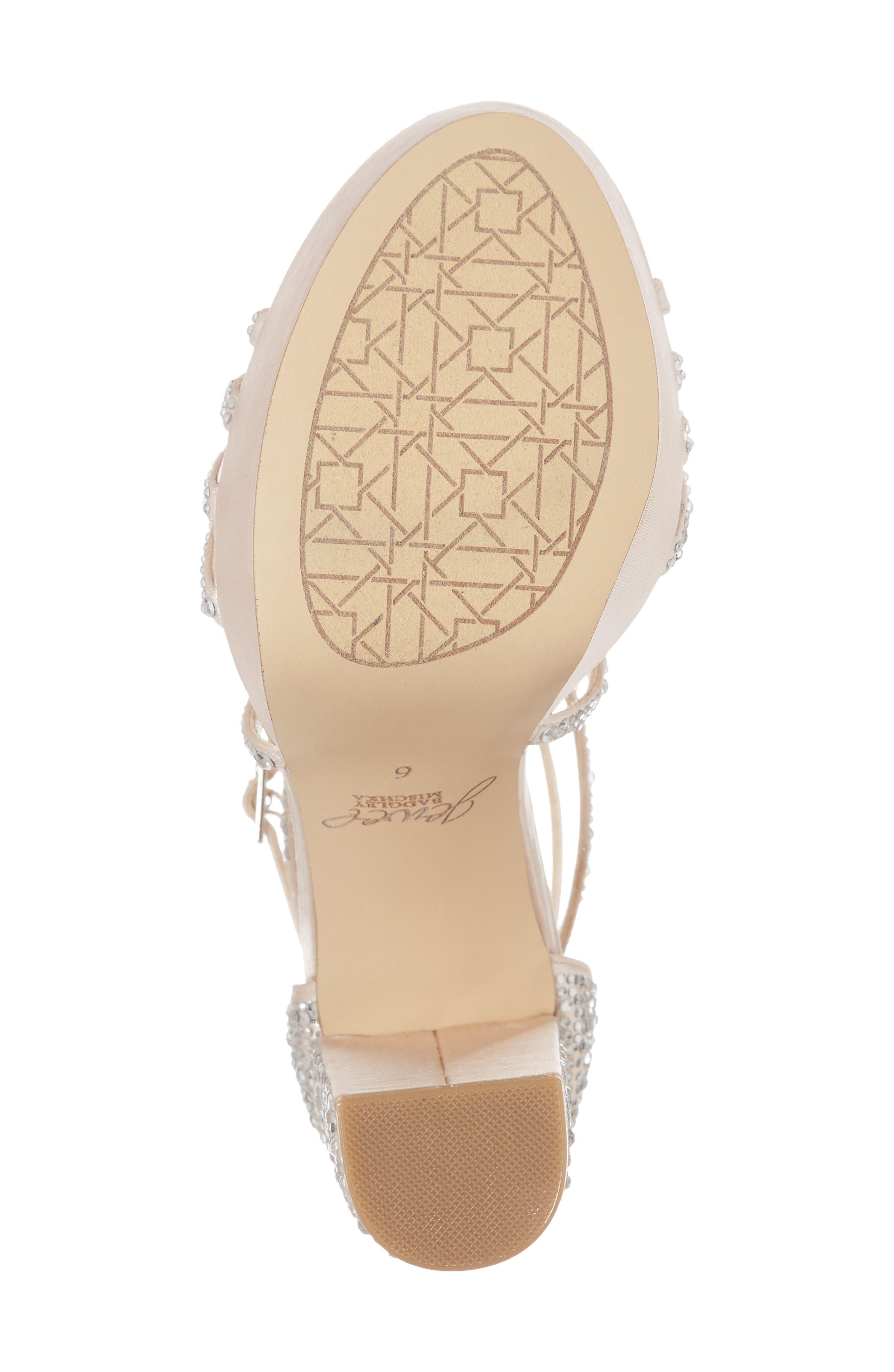 Tarah Crystal Embellished Platform Sandal,                             Alternate thumbnail 6, color,                             Champagne Satin