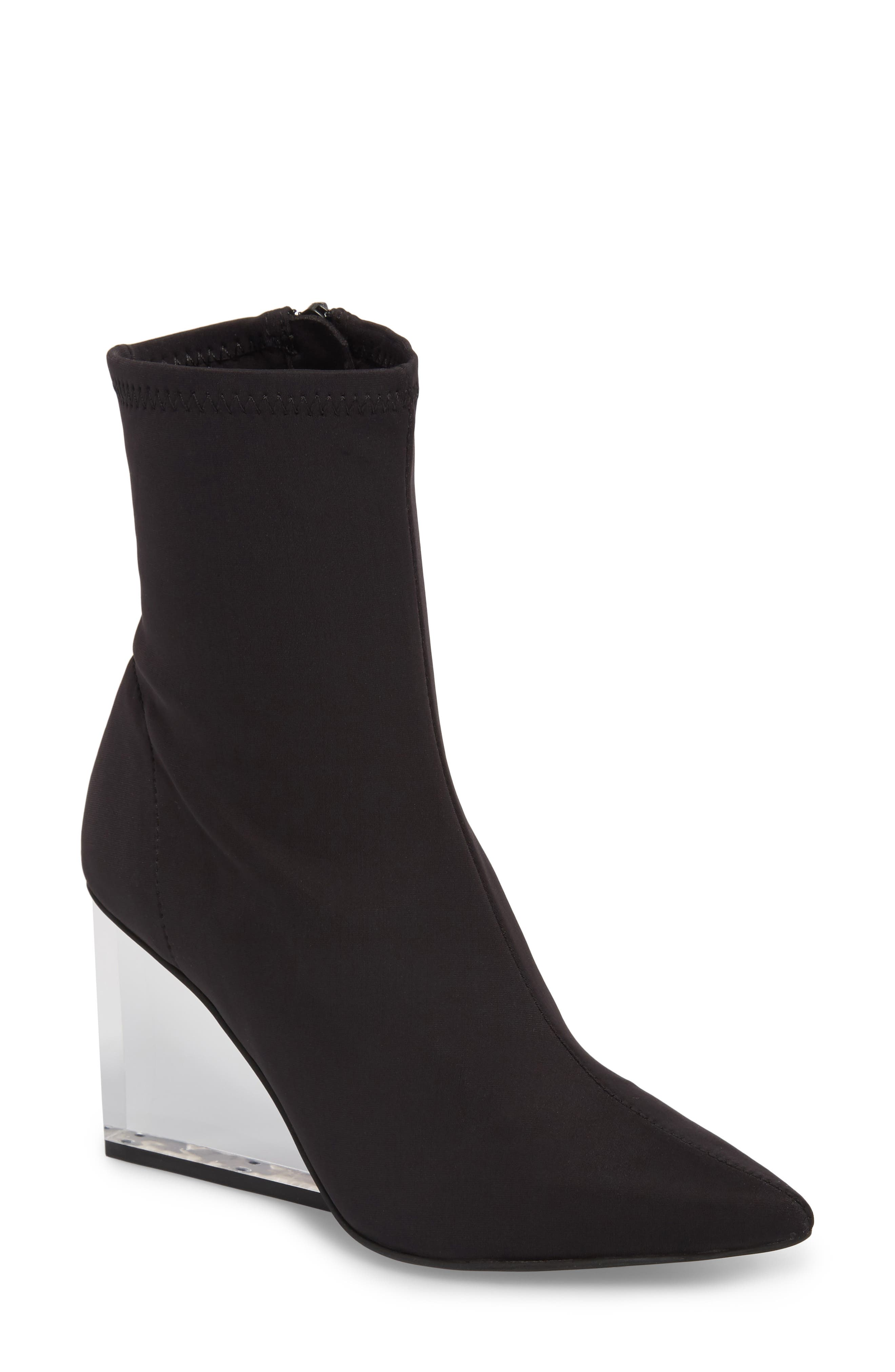 Siren Clear Wedge Sock Bootie,                         Main,                         color, Black Fabric