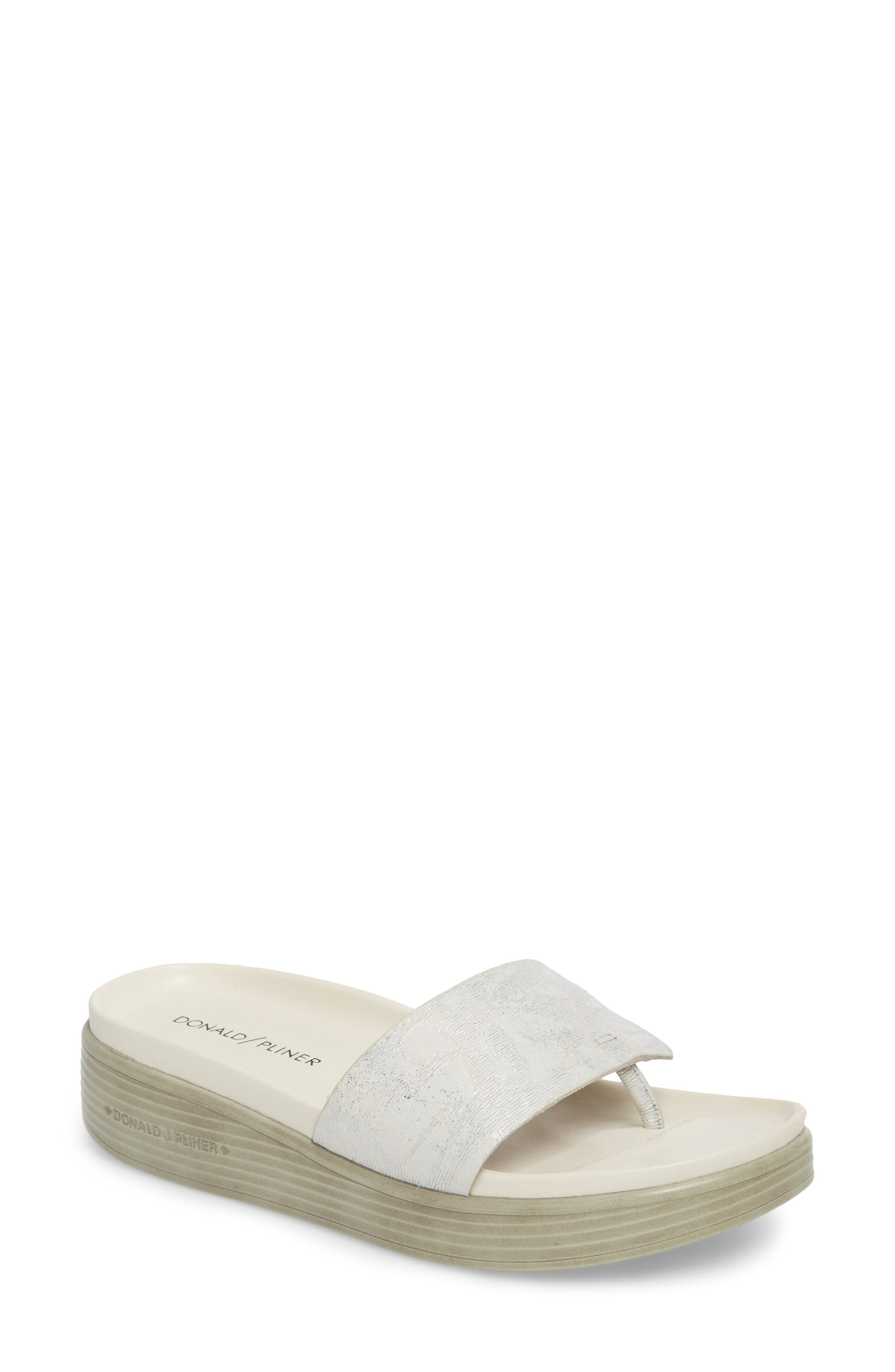 Fifi Slide Sandal,                         Main,                         color, Silver Leather