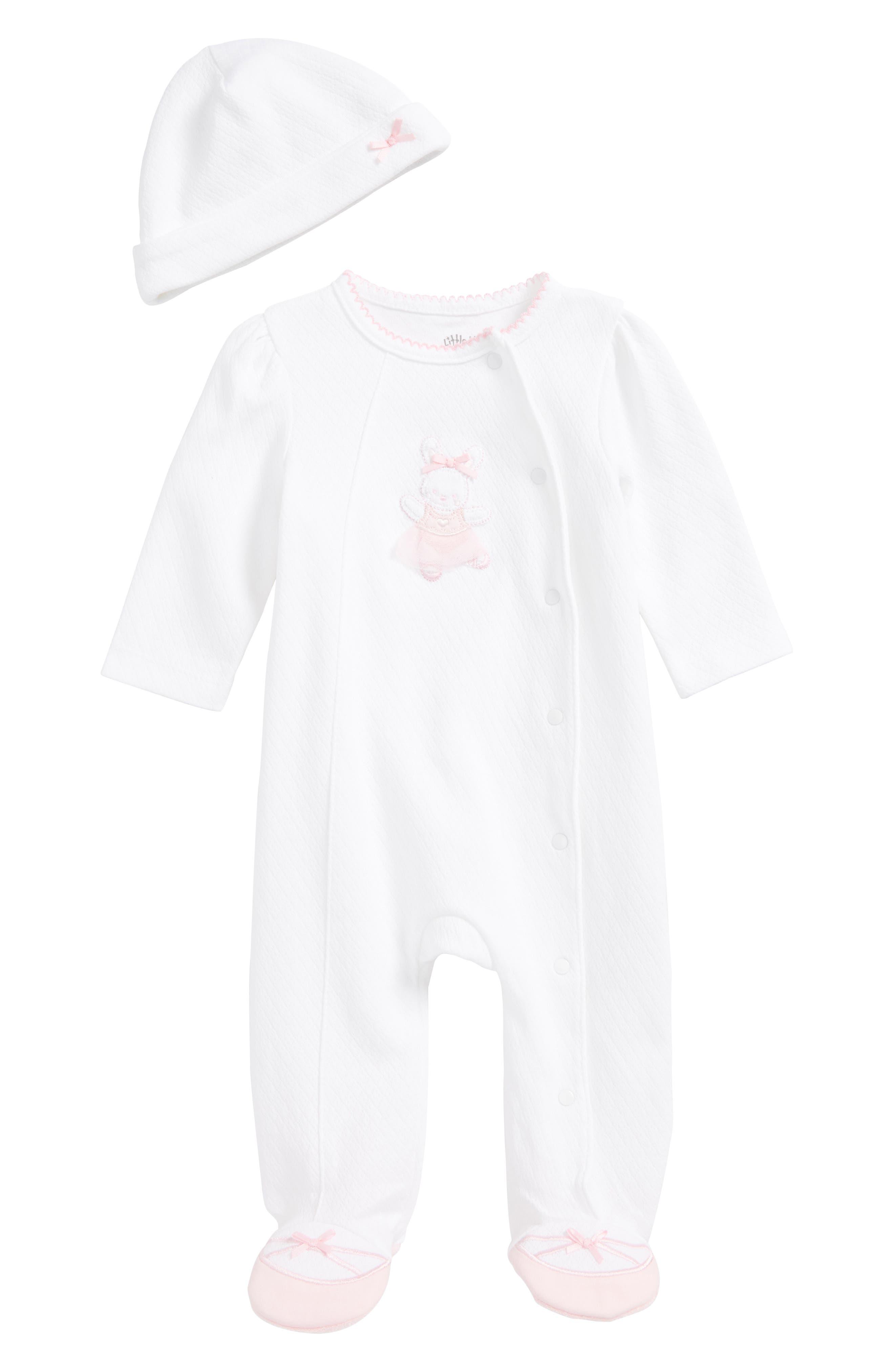 Main Image - Little Me Ballet Bunny Footie & Beanie Set (Baby Girls)