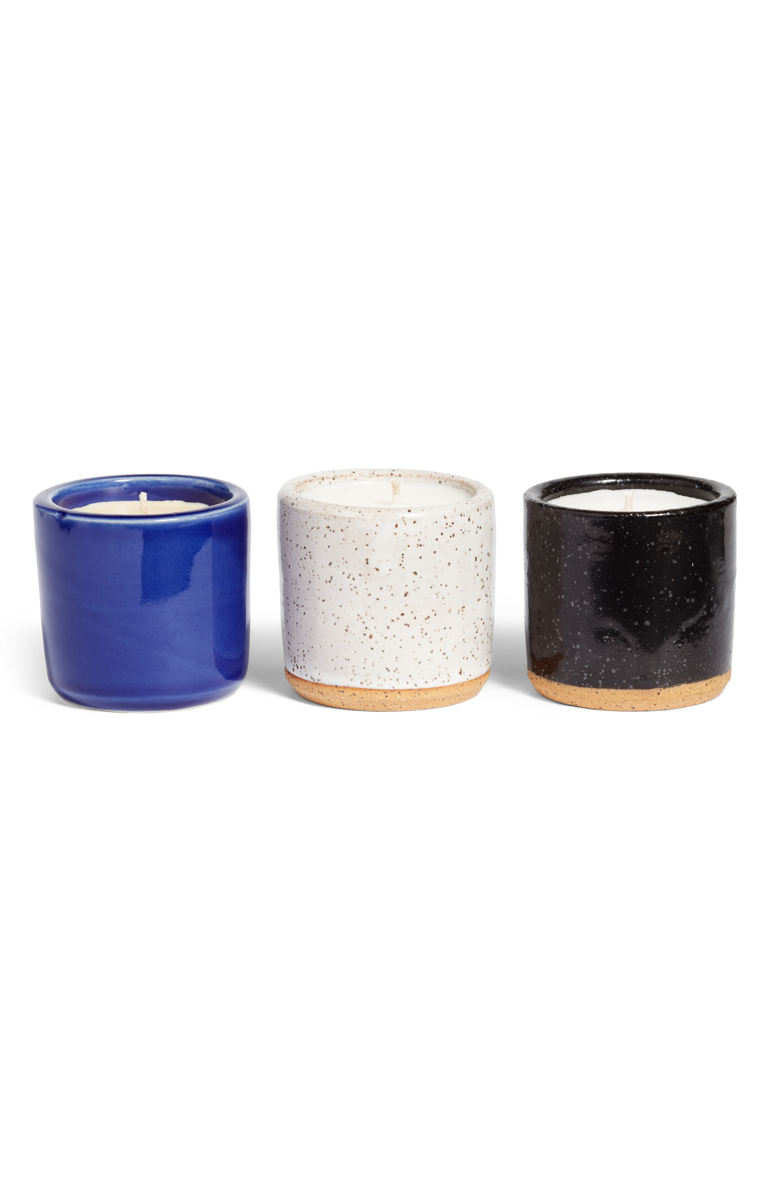 Set of 3 Ceramic Scented Candles,                             Main thumbnail 1, color,                             Blk/ Wht Speckle/ Cobalt Blue
