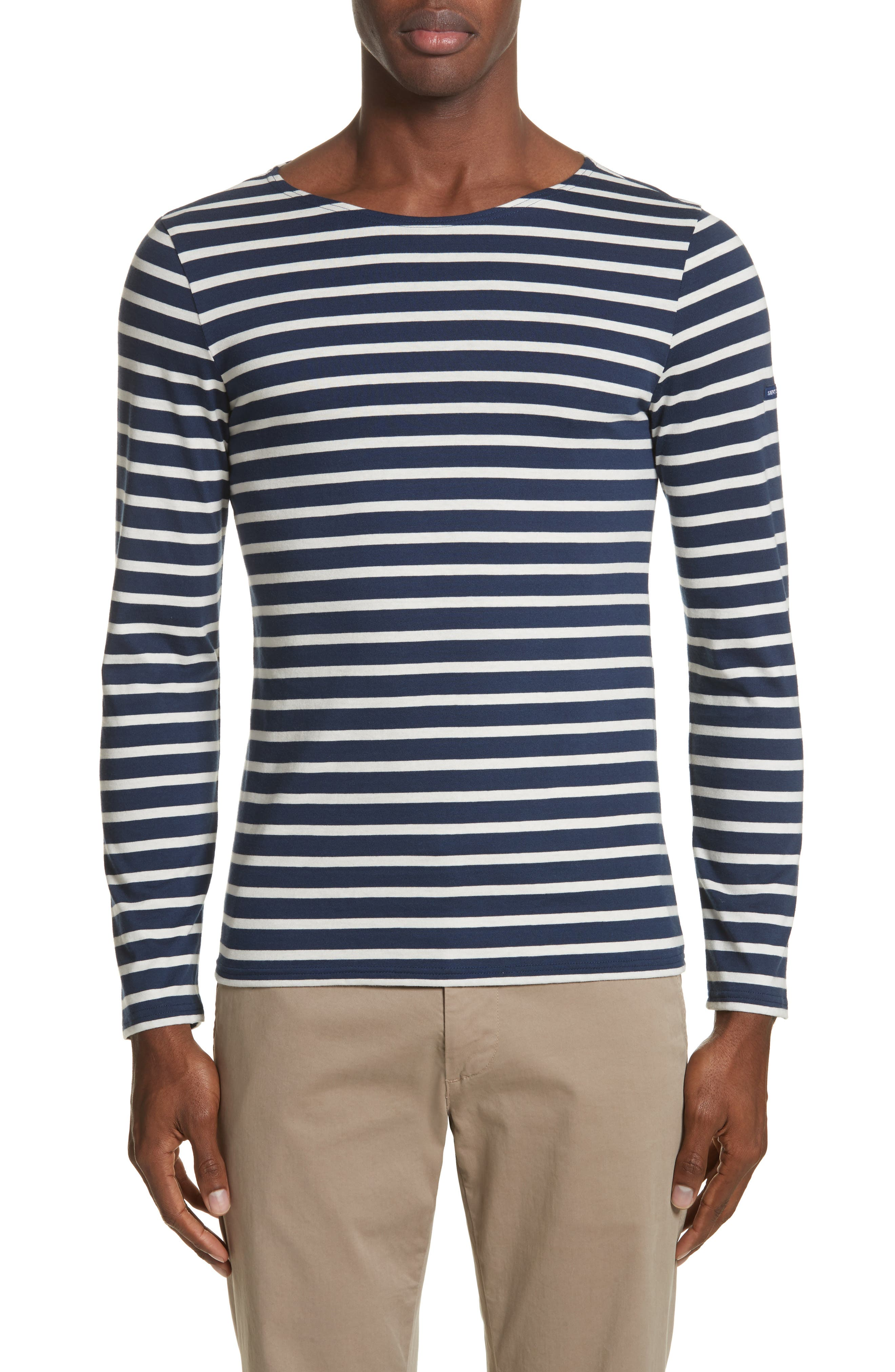 Minquiers Moderne Striped Sailor Shirt,                             Alternate thumbnail 7, color,                             Navy/ Off White