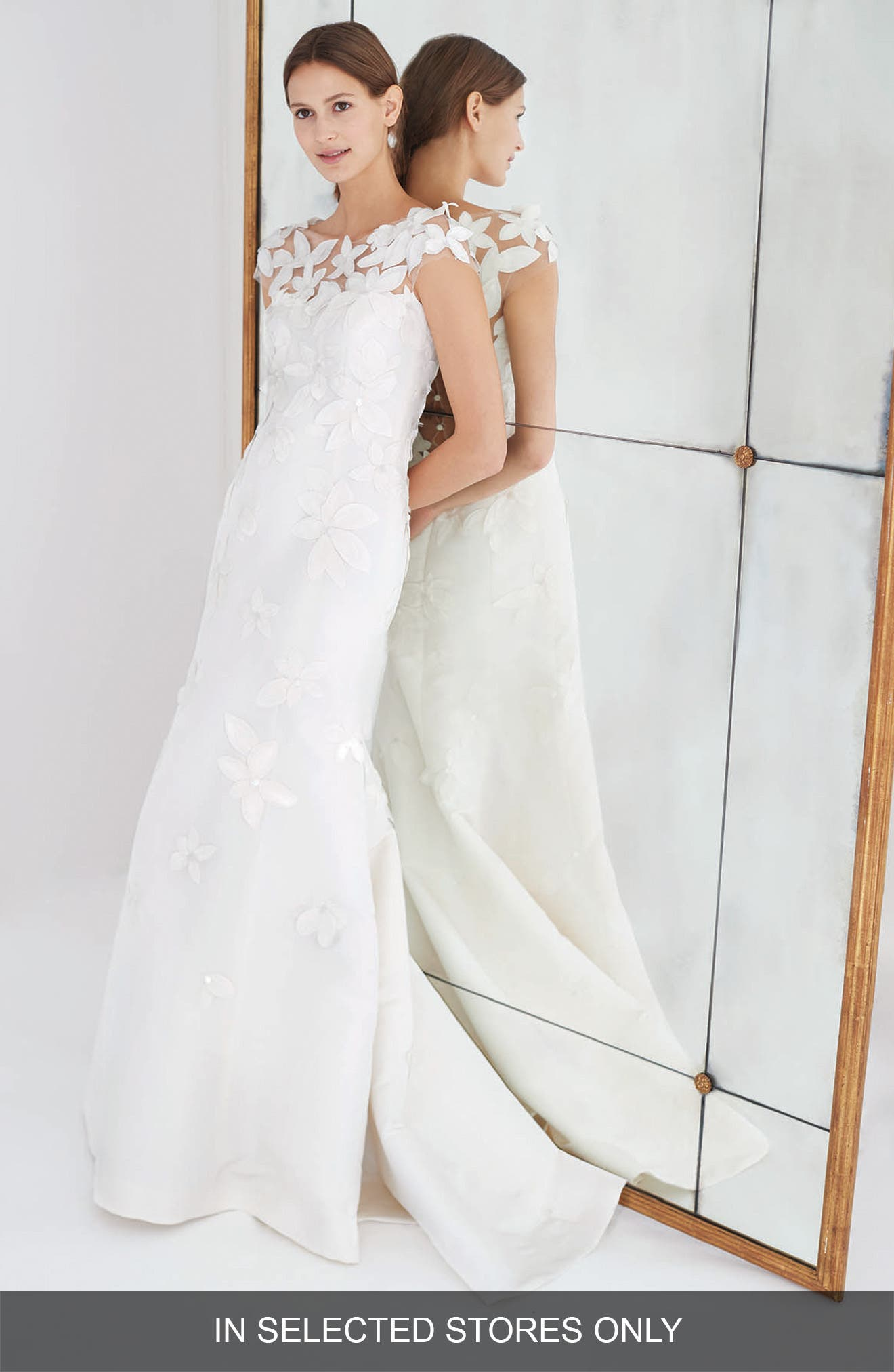 Gretchen Embroidered Faille Trumpet Gown,                             Main thumbnail 1, color,                             Silk White