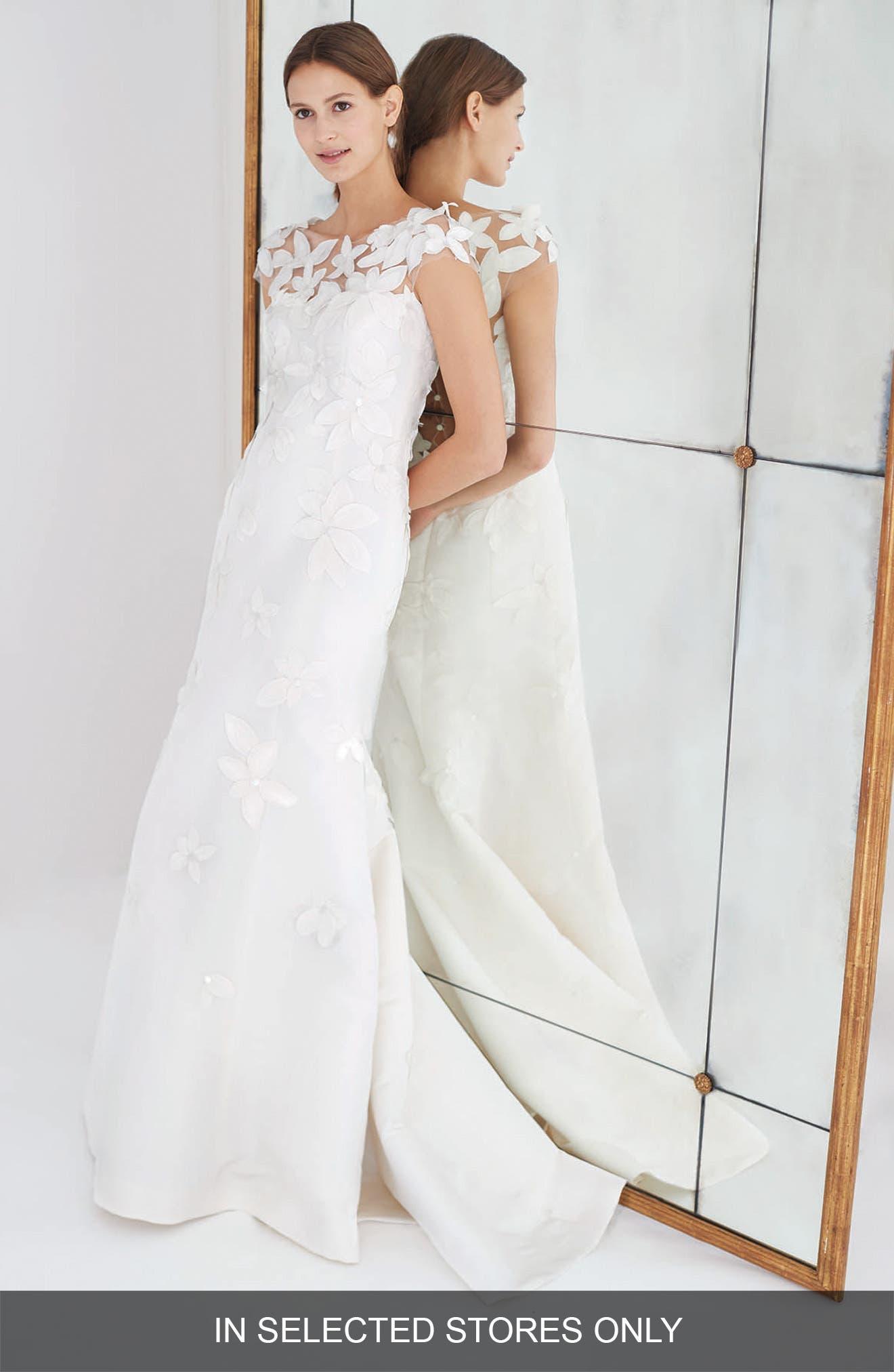 Main Image - Carolina Herrera Gretchen Embroidered Faille Trumpet Gown