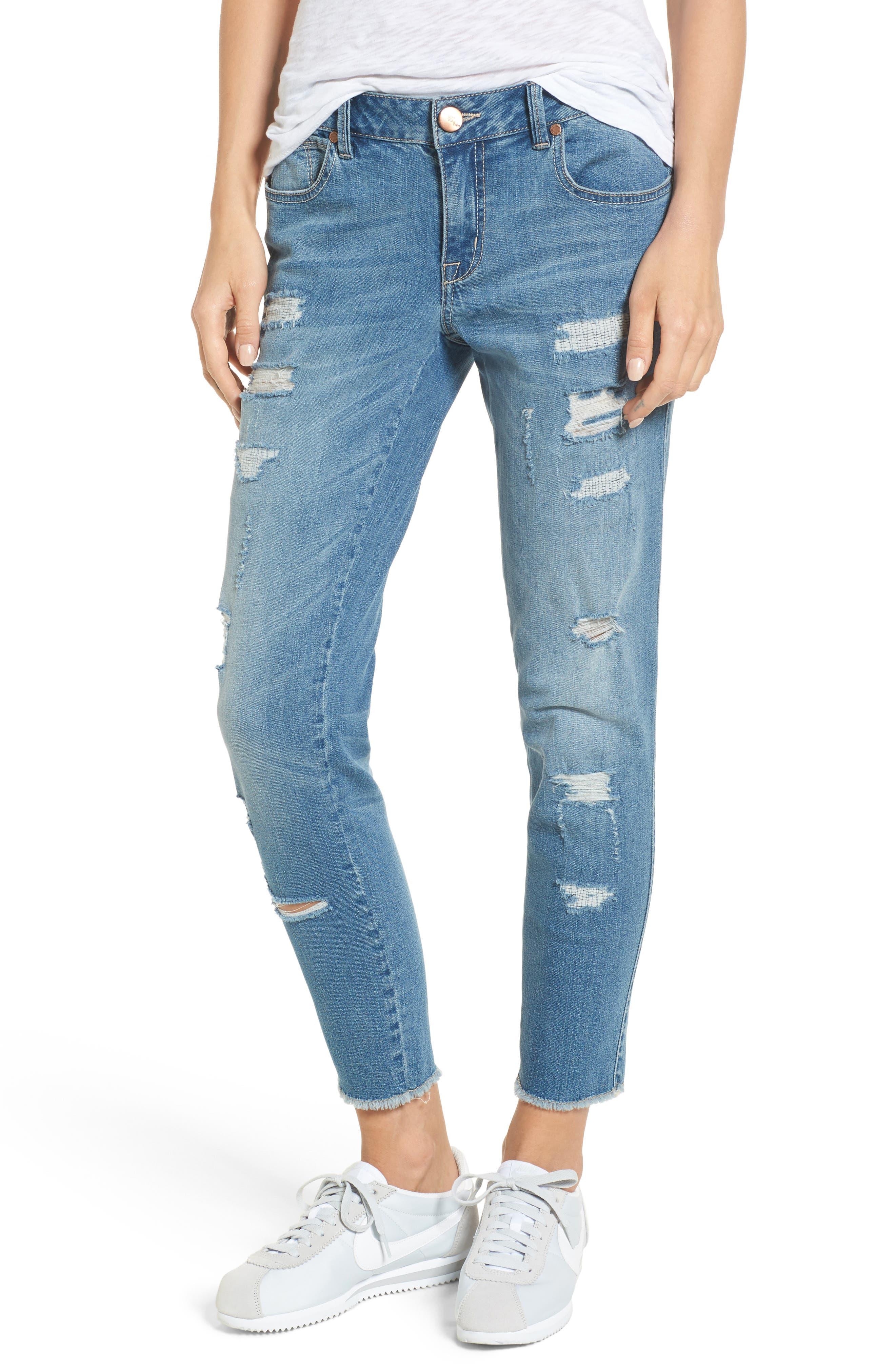 Rip & Repair Ankle Skinny Jeans,                         Main,                         color, Pearl Jam