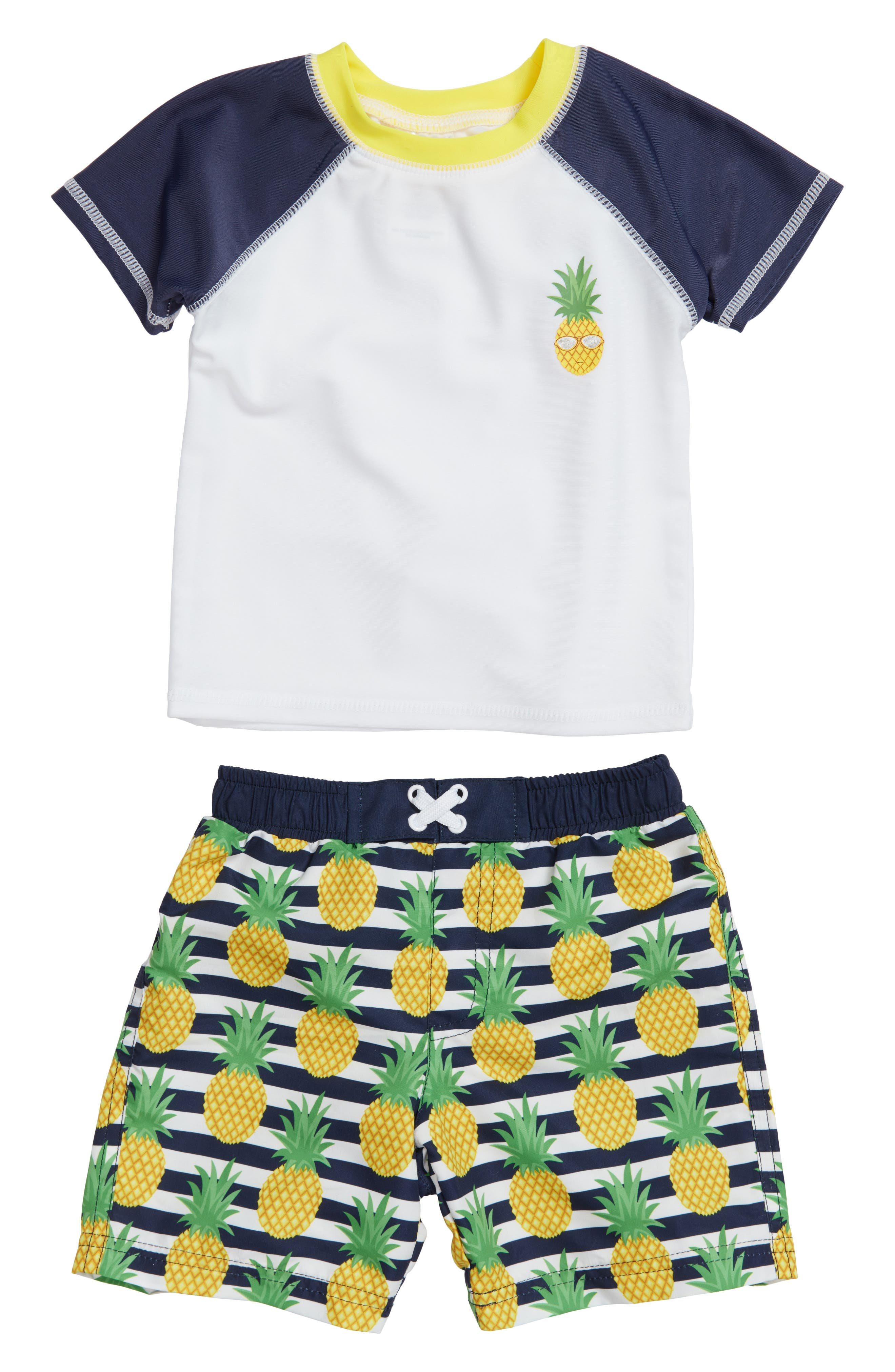 Alternate Image 1 Selected - Sol Swim Preppy Pineapples Two-Piece Rashguard Swimsuit (Baby Boys)