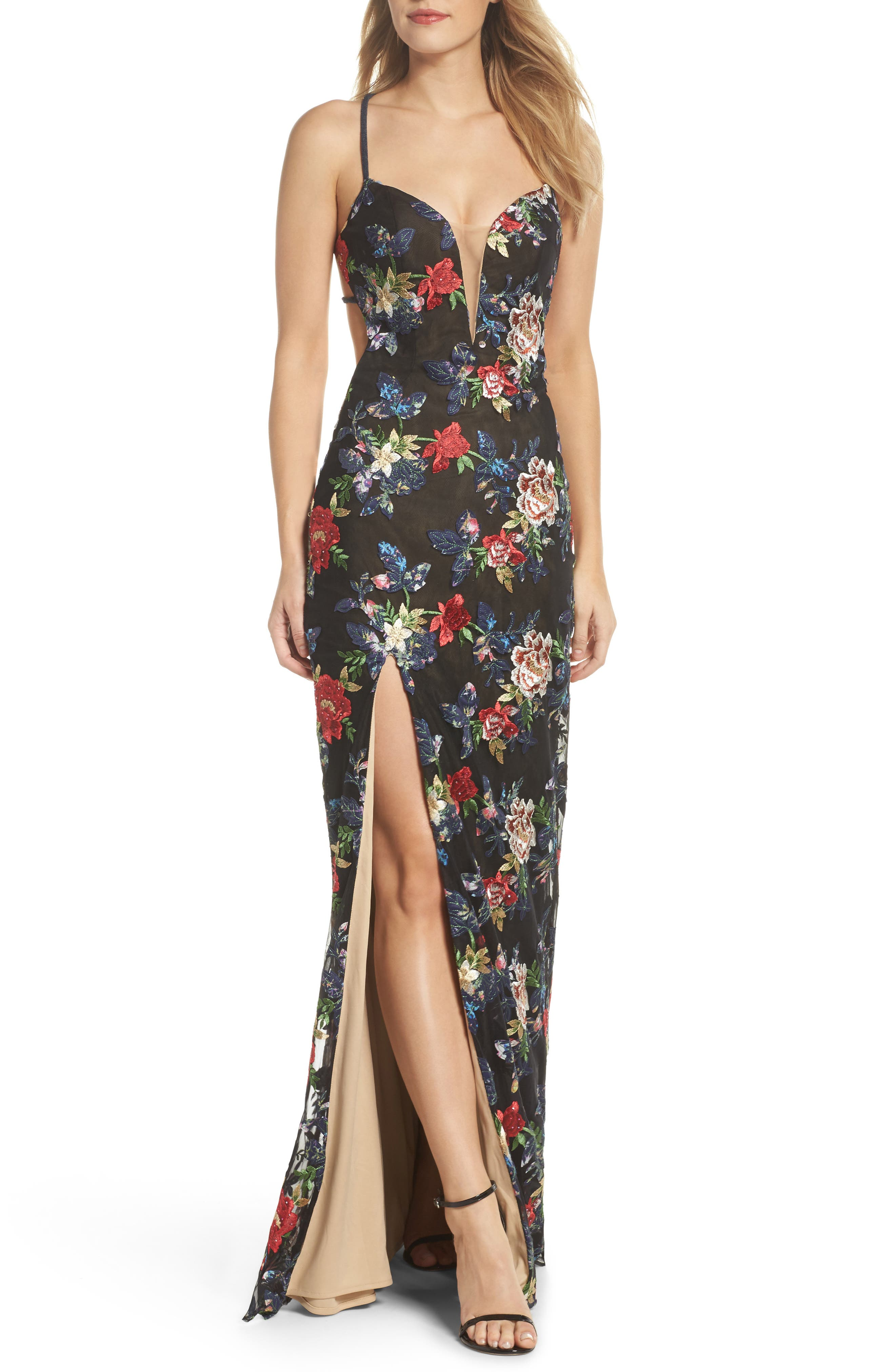 Floral Embroidered Gown,                         Main,                         color, Multi