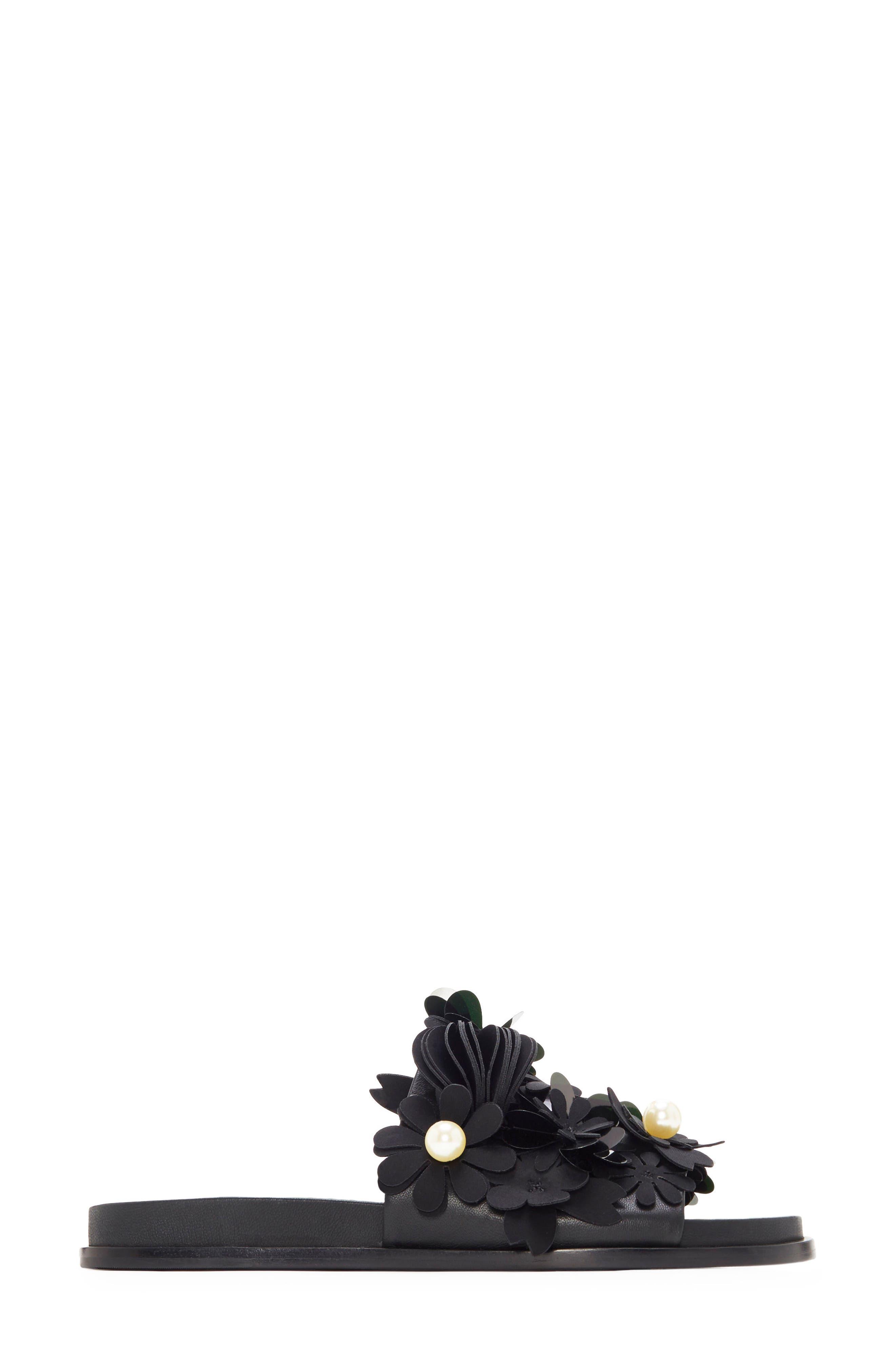 Alyse Flowered Slide Sandal,                             Alternate thumbnail 2, color,                             Black
