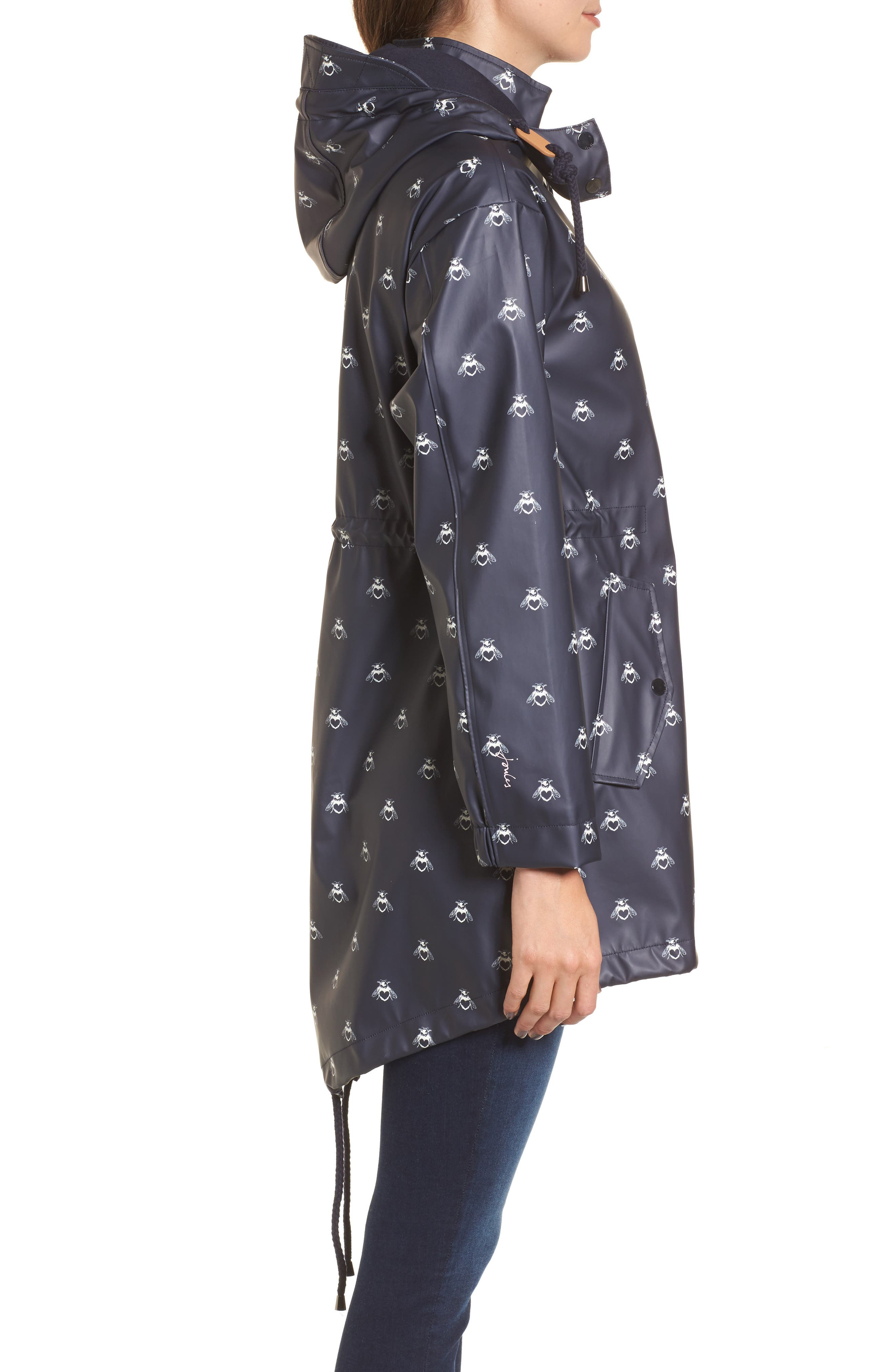 Right As Rain Packable Hooded Raincoat,                             Alternate thumbnail 3, color,                             Navy Love Bees