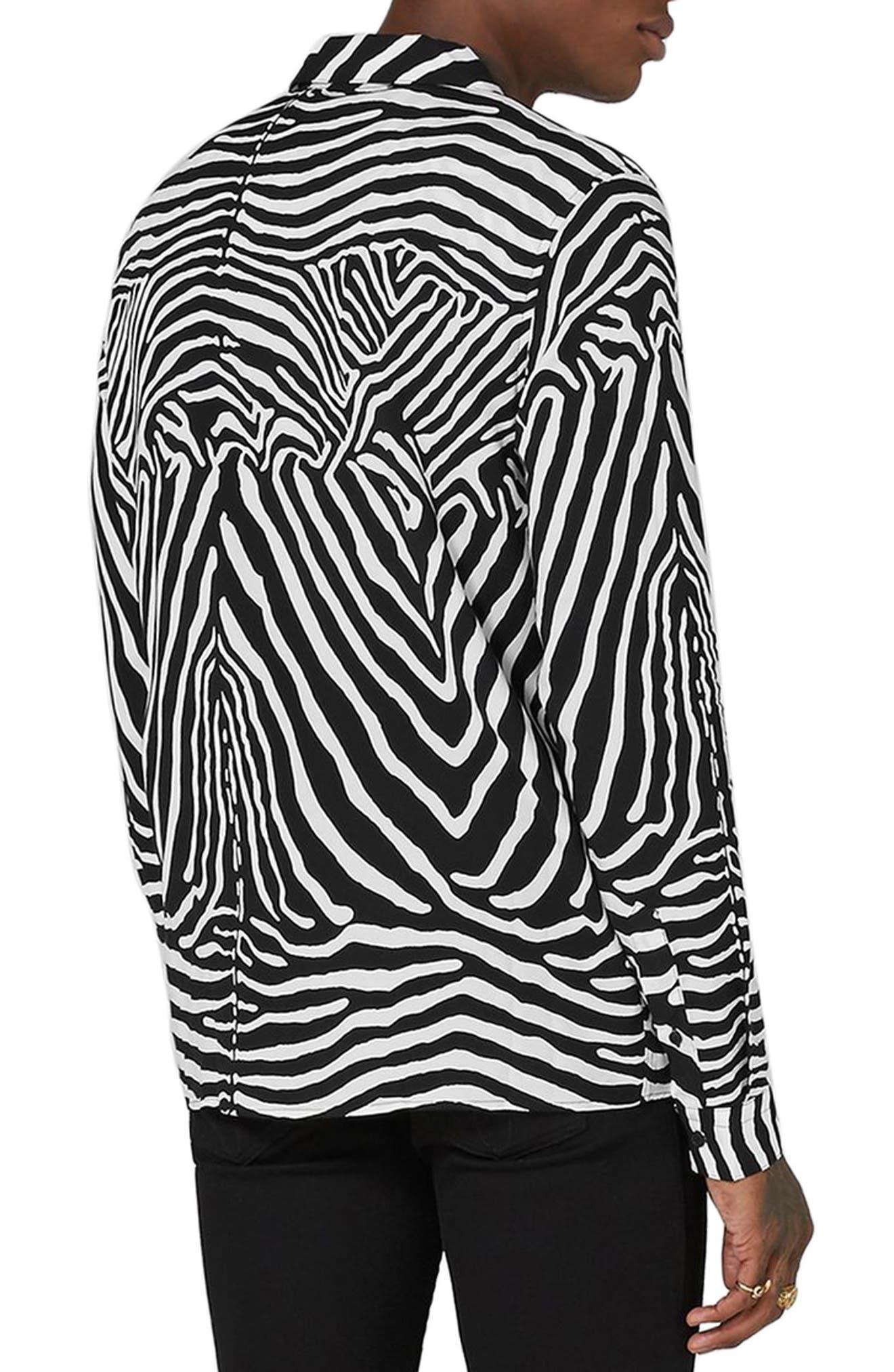 Classic Fit Zebra Print Revere Shirt,                             Alternate thumbnail 2, color,                             Black Multi