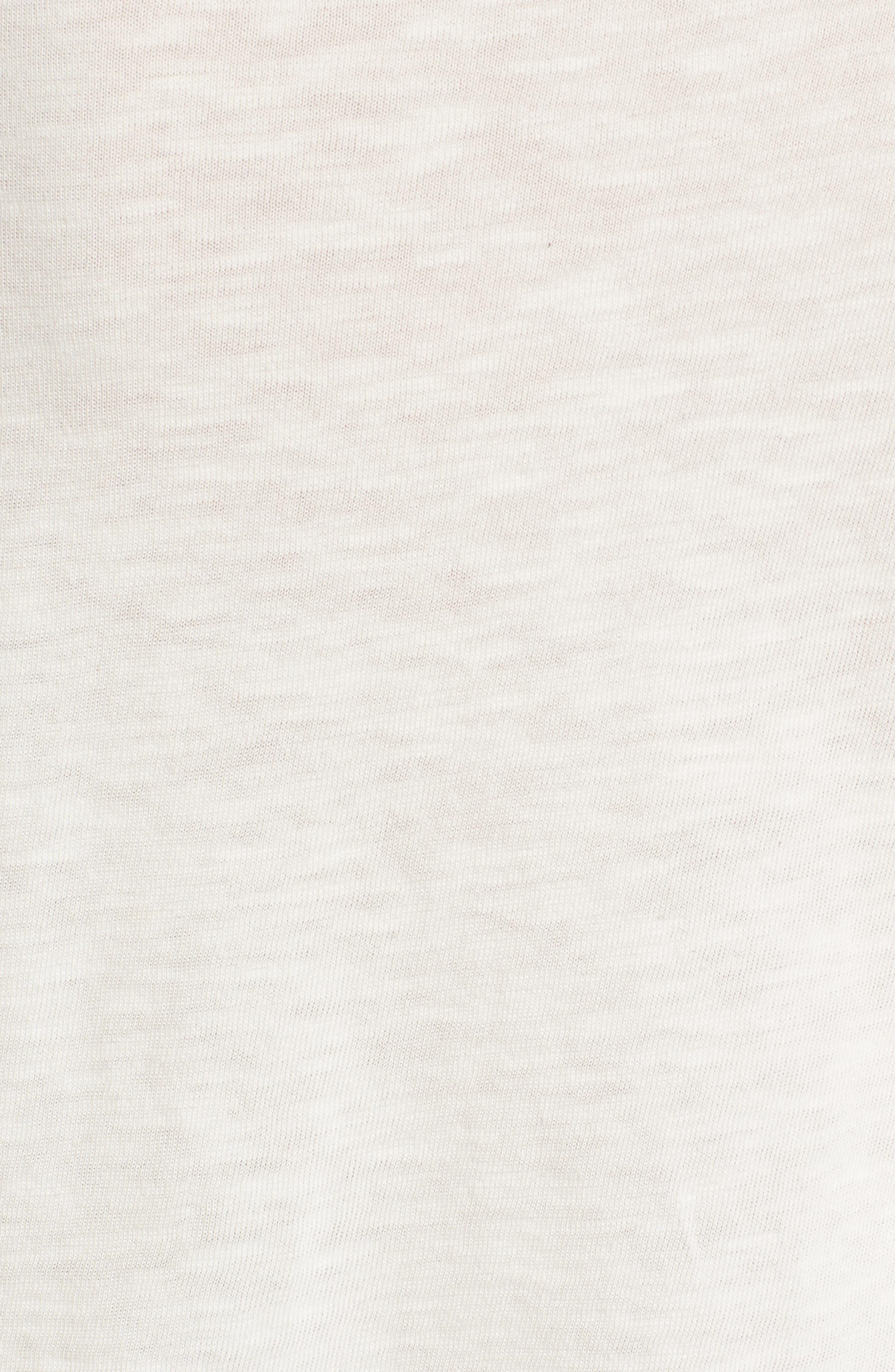 Tie Sleeve Slub Cotton Tee,                             Alternate thumbnail 5, color,                             Off White