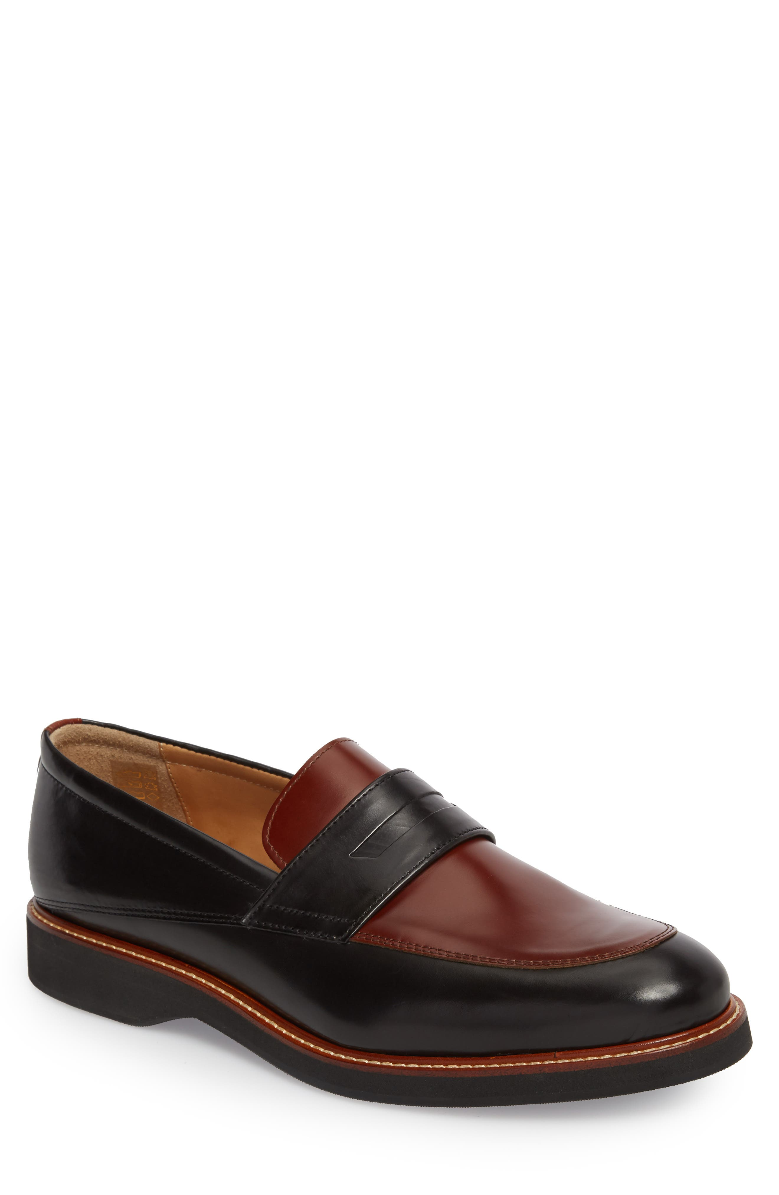 Marcus Penny Loafer,                             Main thumbnail 1, color,                             Black/ Cognac