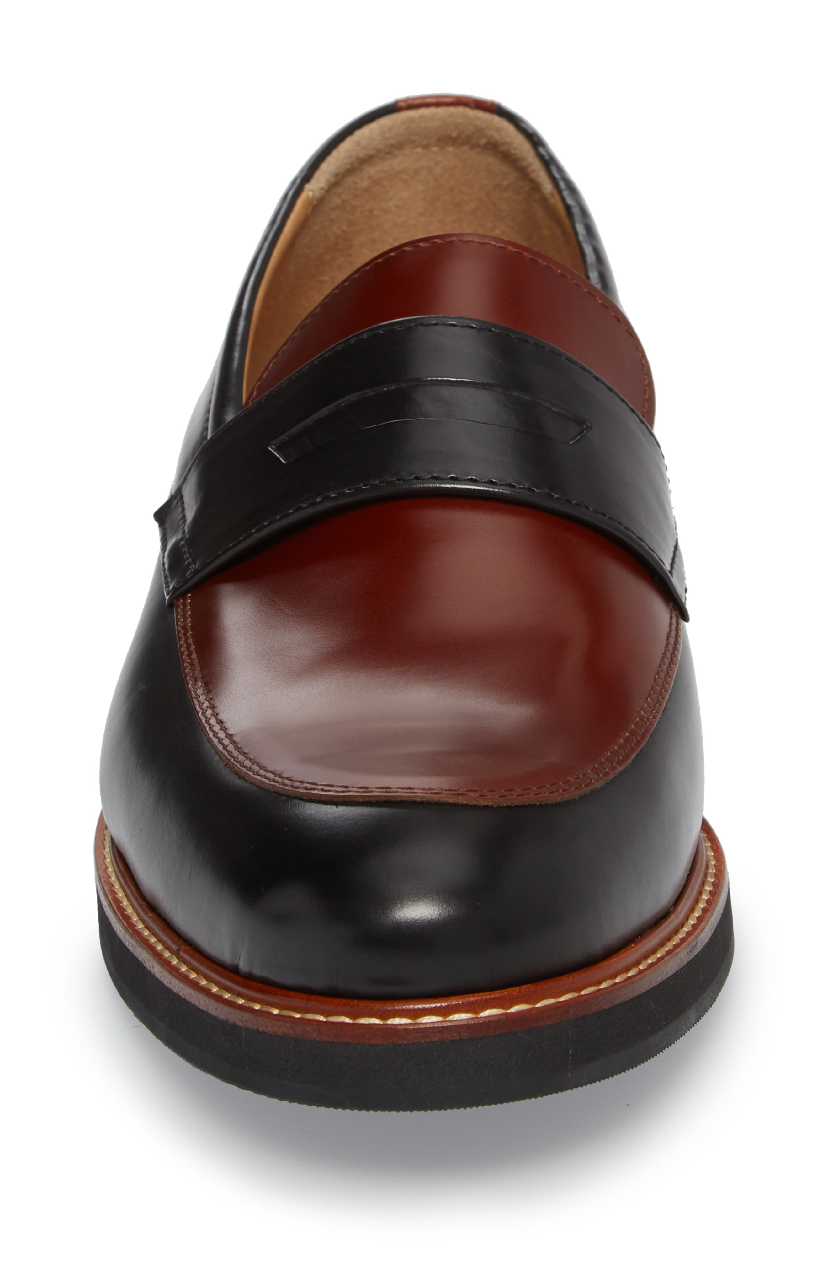Marcus Penny Loafer,                             Alternate thumbnail 4, color,                             Black/ Cognac